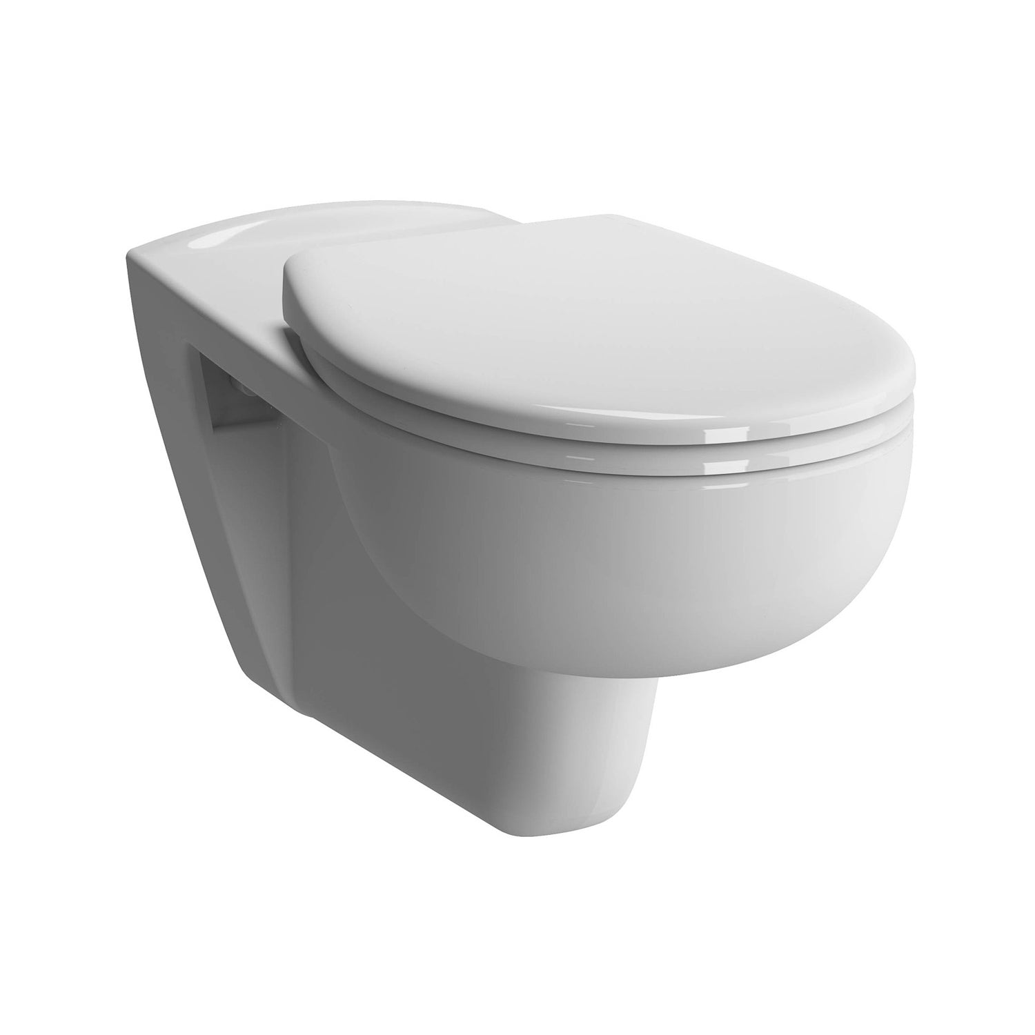 700mm Consilio Long Projection Wall Hung Toilet with a seat and cover on a white background