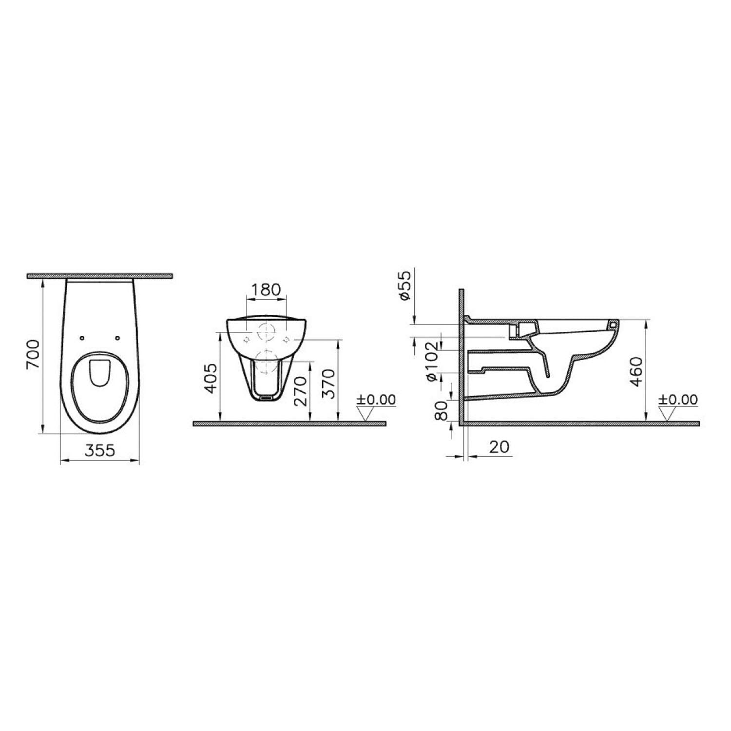 700mm Consilio Long Projection Wall Hung Toilet with a seat and cover dimensional drawing