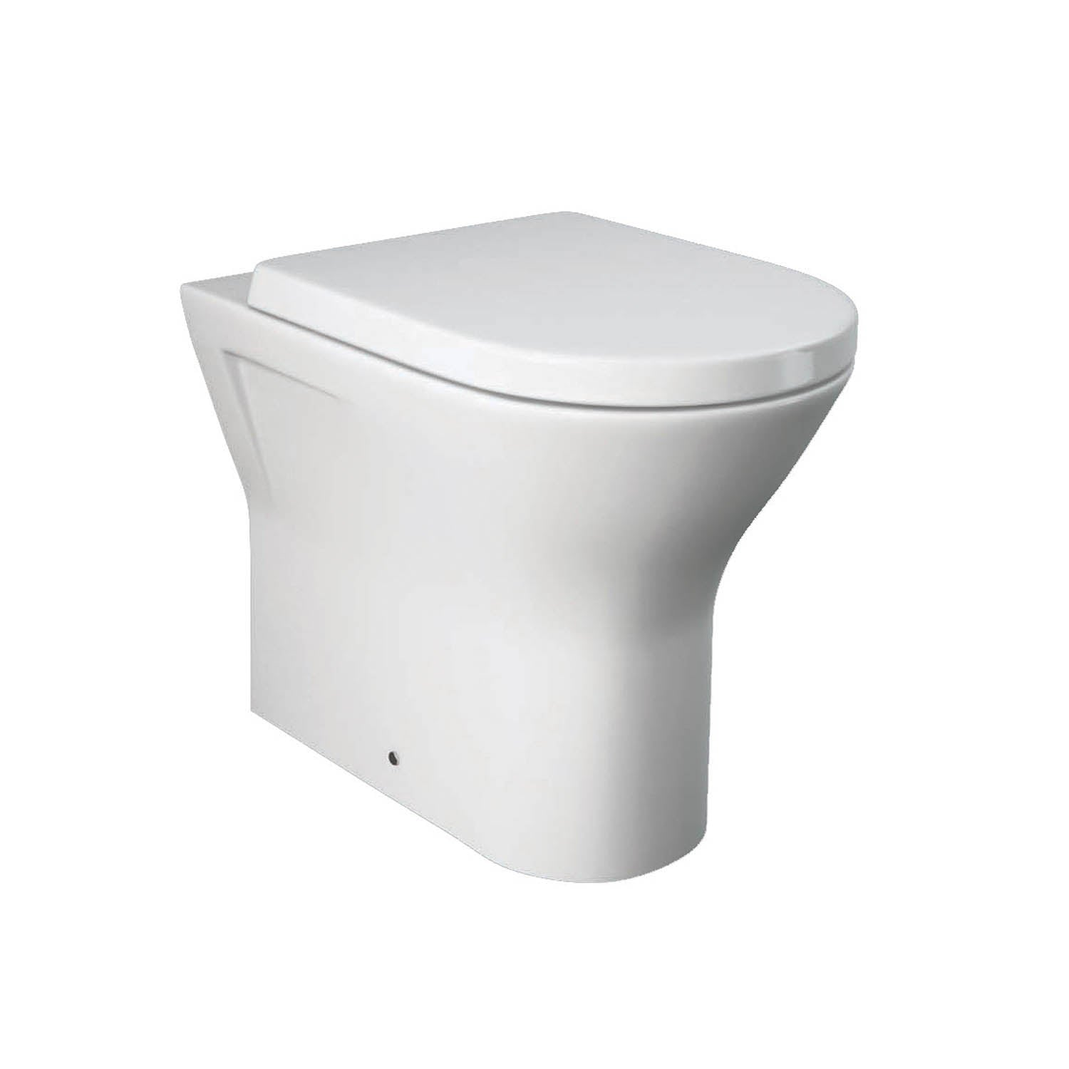 425mm Vesta Comfort Height Back to Wall Toilet with a seat and cover on a white background