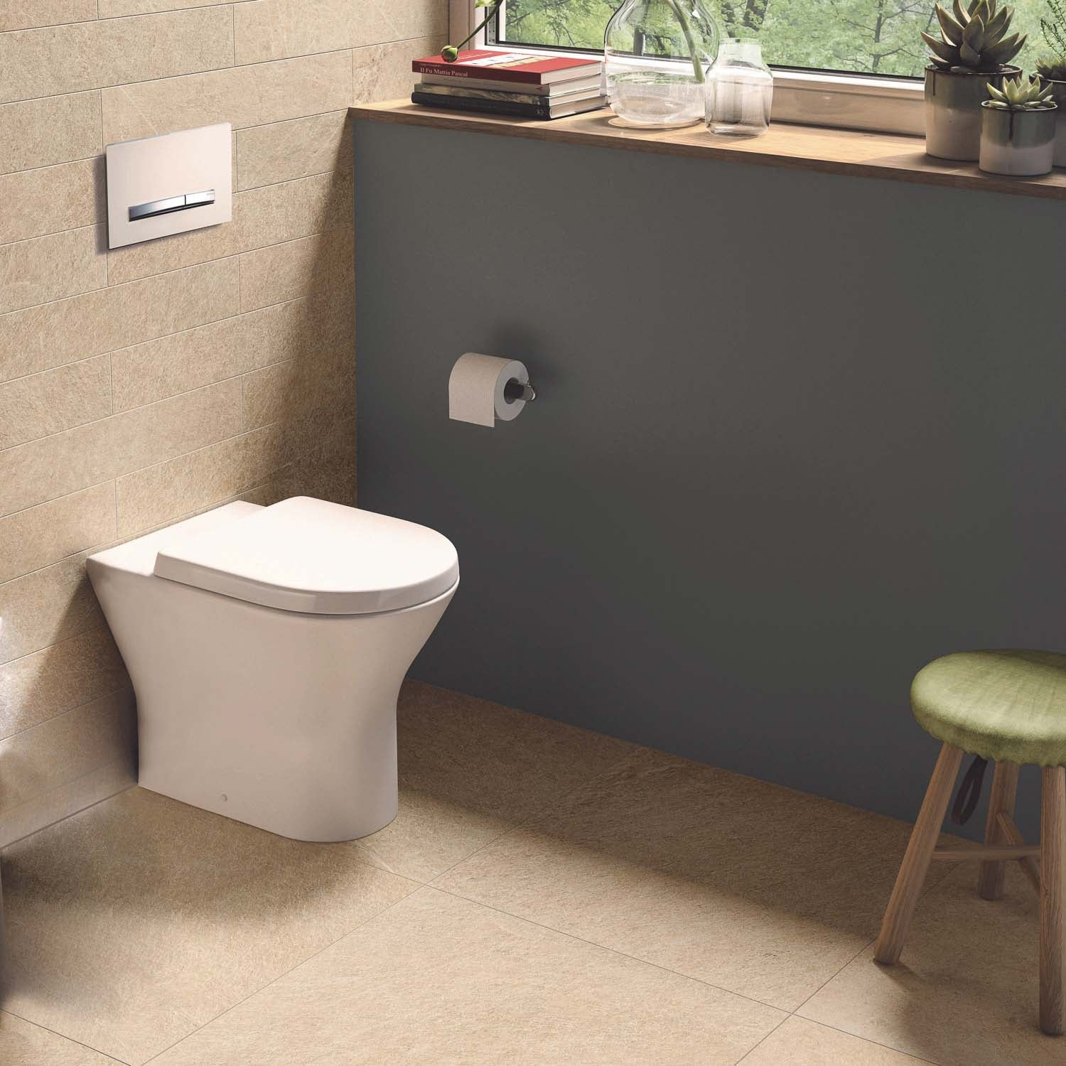 425mm Vesta Comfort Height Back to Wall Toilet with a seat and cover lifestyle image