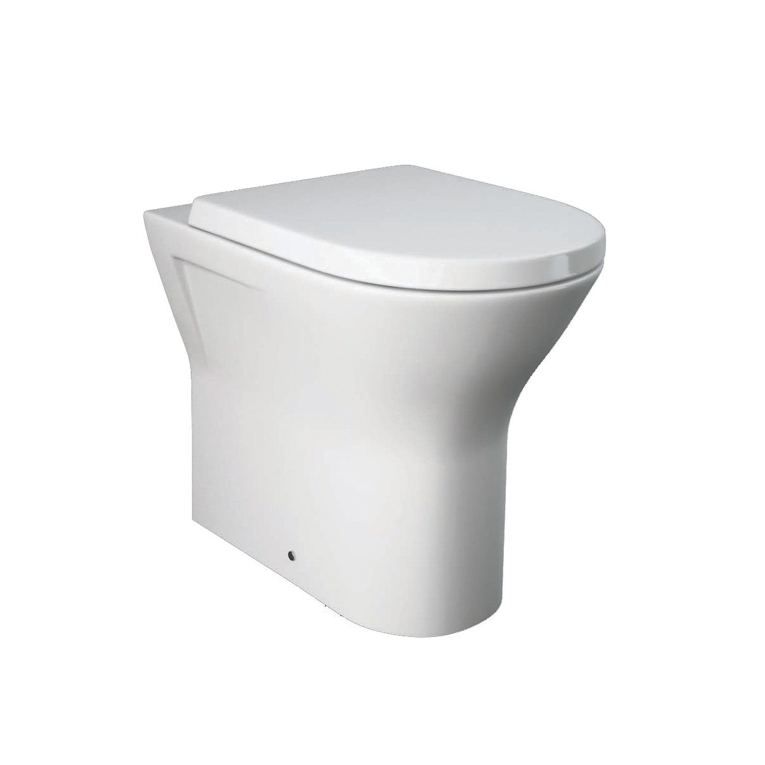 450mm Vesta Comfort Height Back to Wall Toilet with a seat and cover on a white background