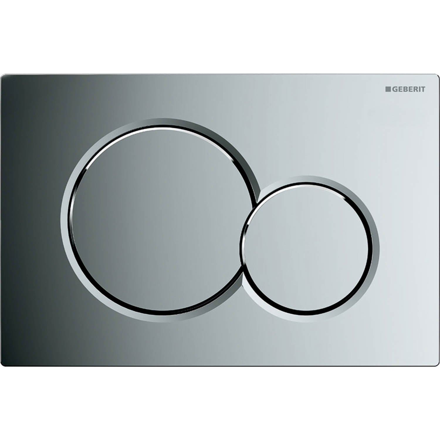 Sigma Joint Button Dual Action Flush Plate with a gloss chrome finish on a white background