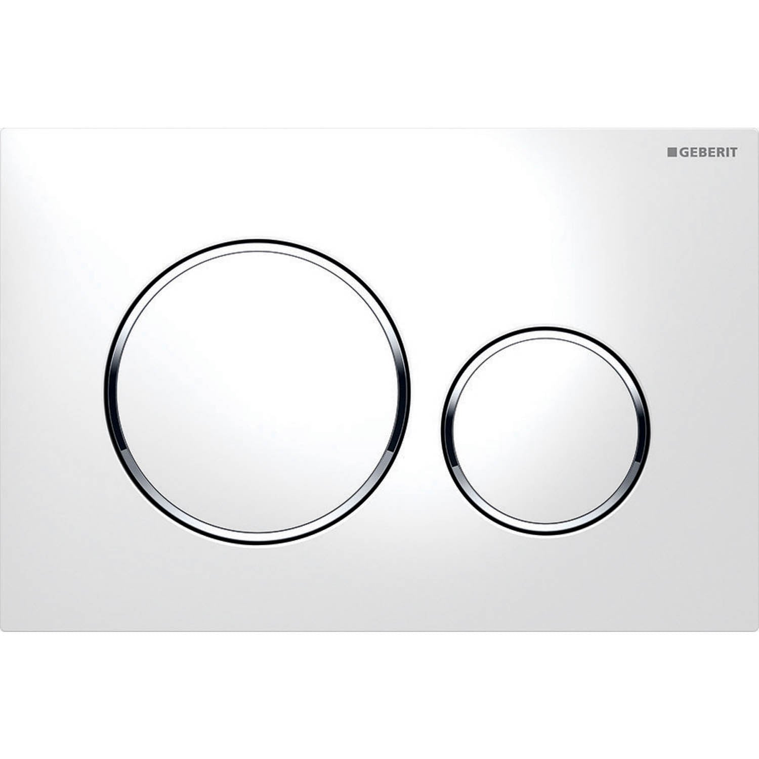 Sigma Round Dual Action Flush Plate with a white and chrome finish on a white background