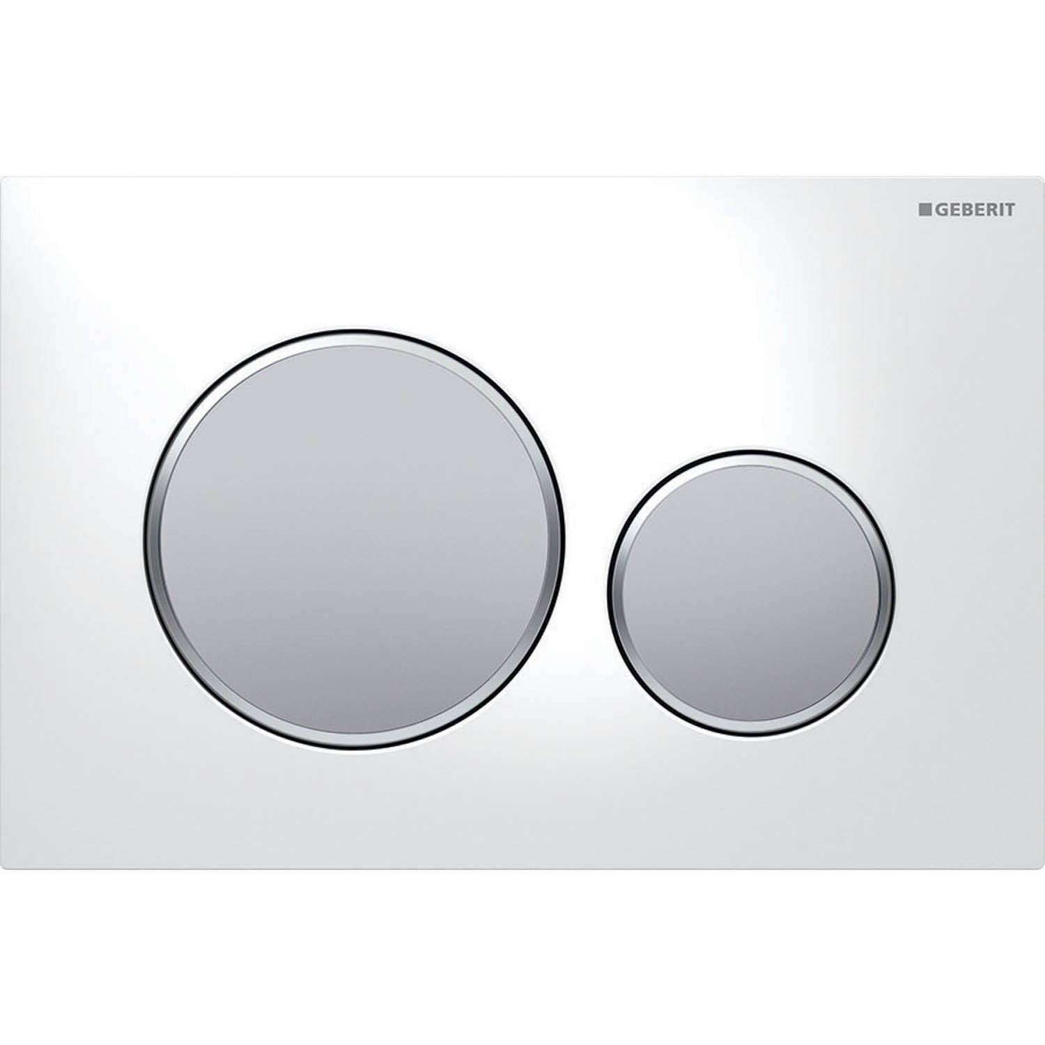 Sigma Round Dual Action Flush Plate with a white and matt chrome finish on a white background