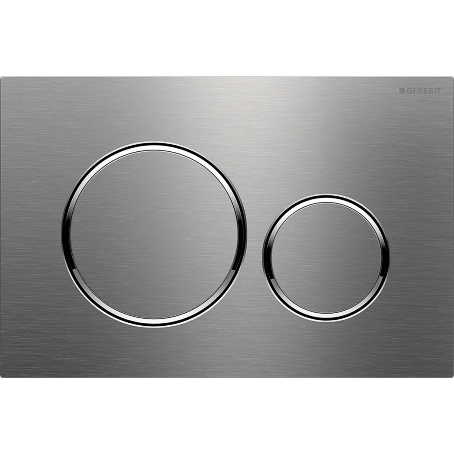 Sigma Round Dual Action Flush Plate with a brushed stainless steel finish on a white background