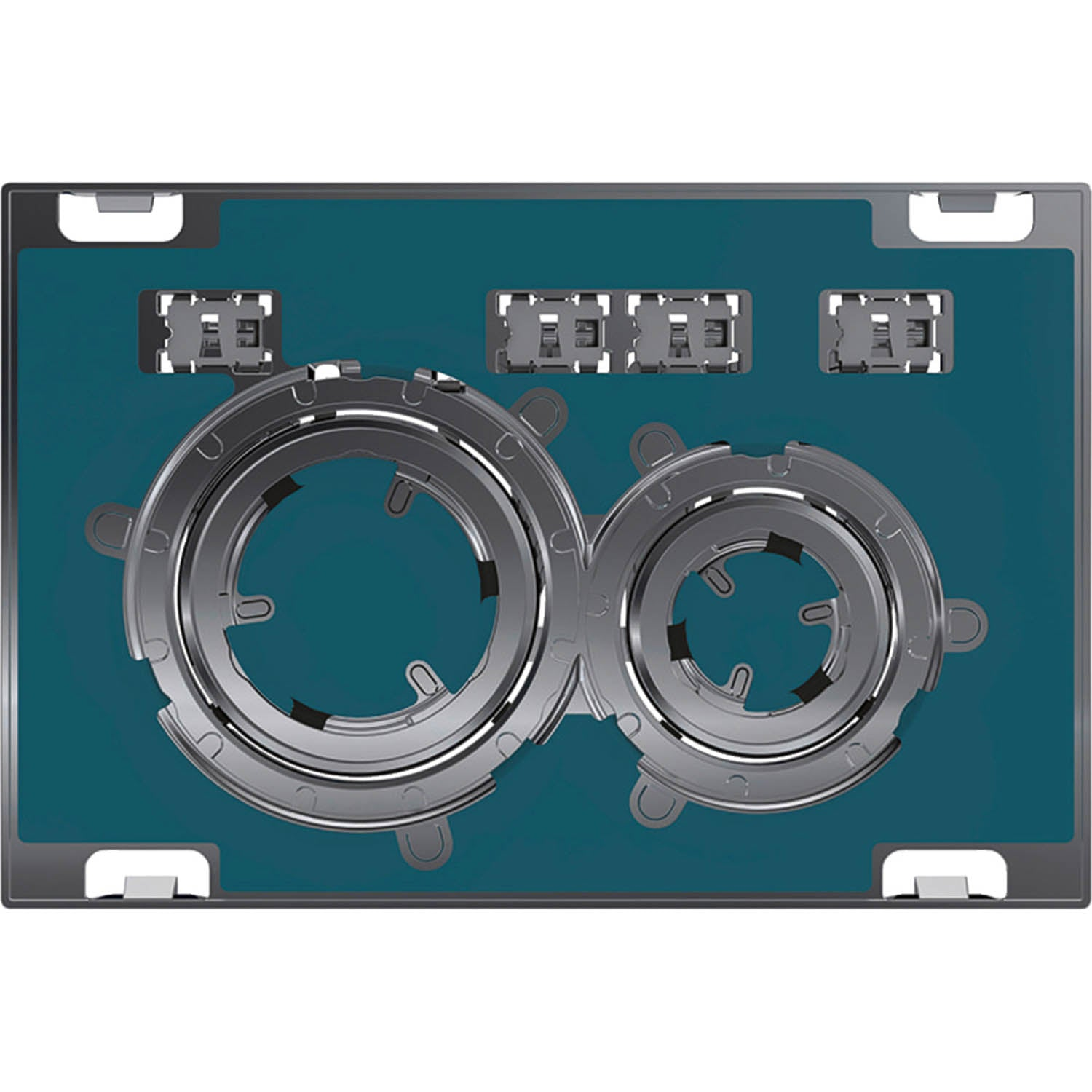 Sigma Round Dual Action Flush Plate with a custom colour finish on a white background