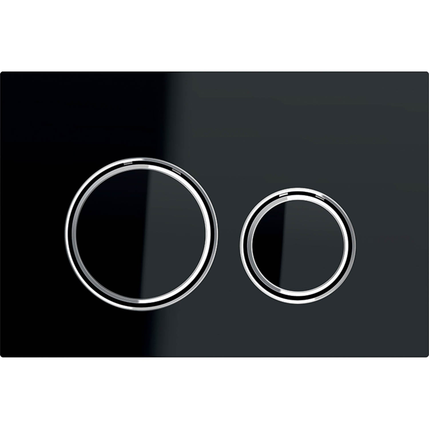 Sigma Round Dual Action Flush Plate with a black glass and chrome finish on a white background