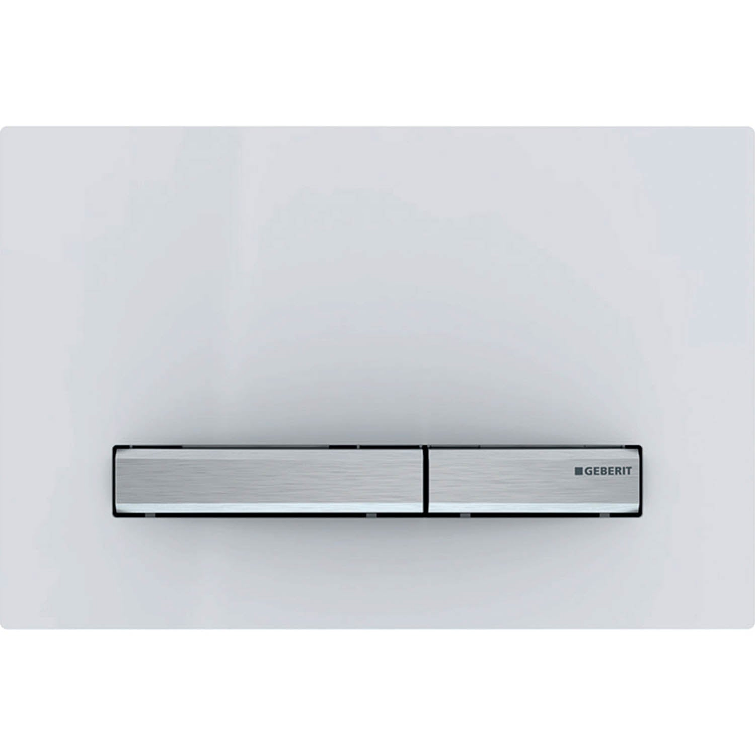 Sigma Rectangular Dual Action Flush Plate with a white finish on a white background