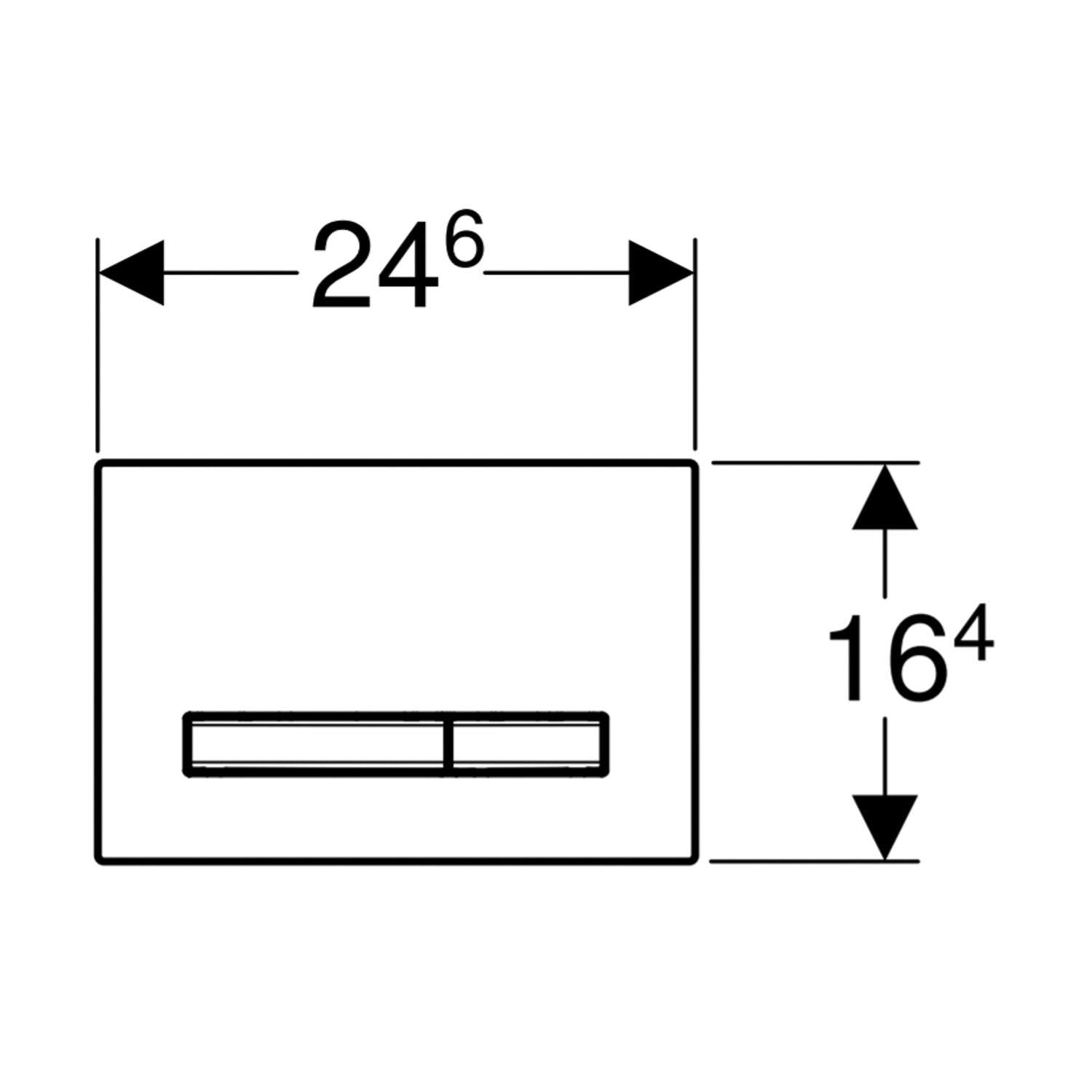 Sigma Rectangular Dual Action Flush Plate with a white finish dimensional drawing