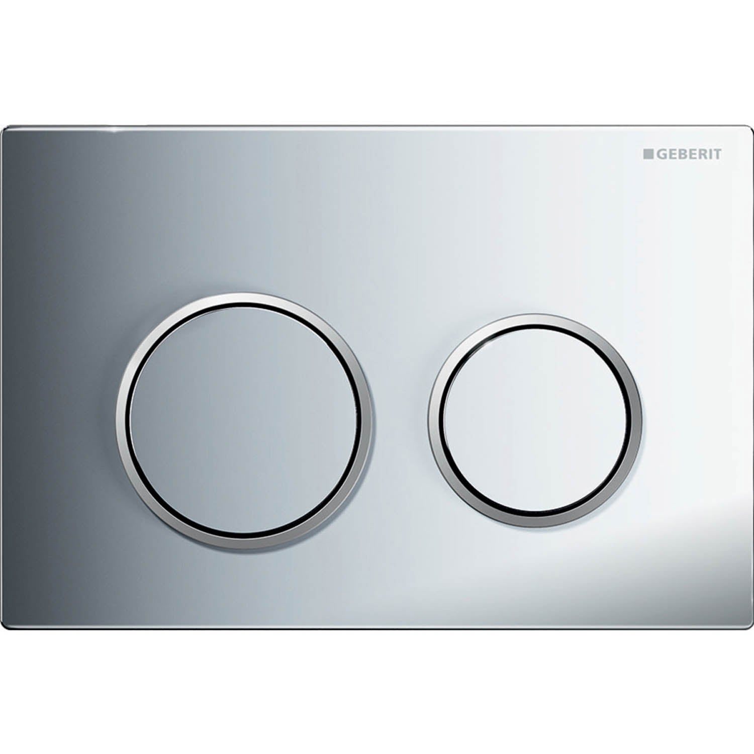 Omega Round Dual Action Flush Plate with a gloss chrome finish on a white background