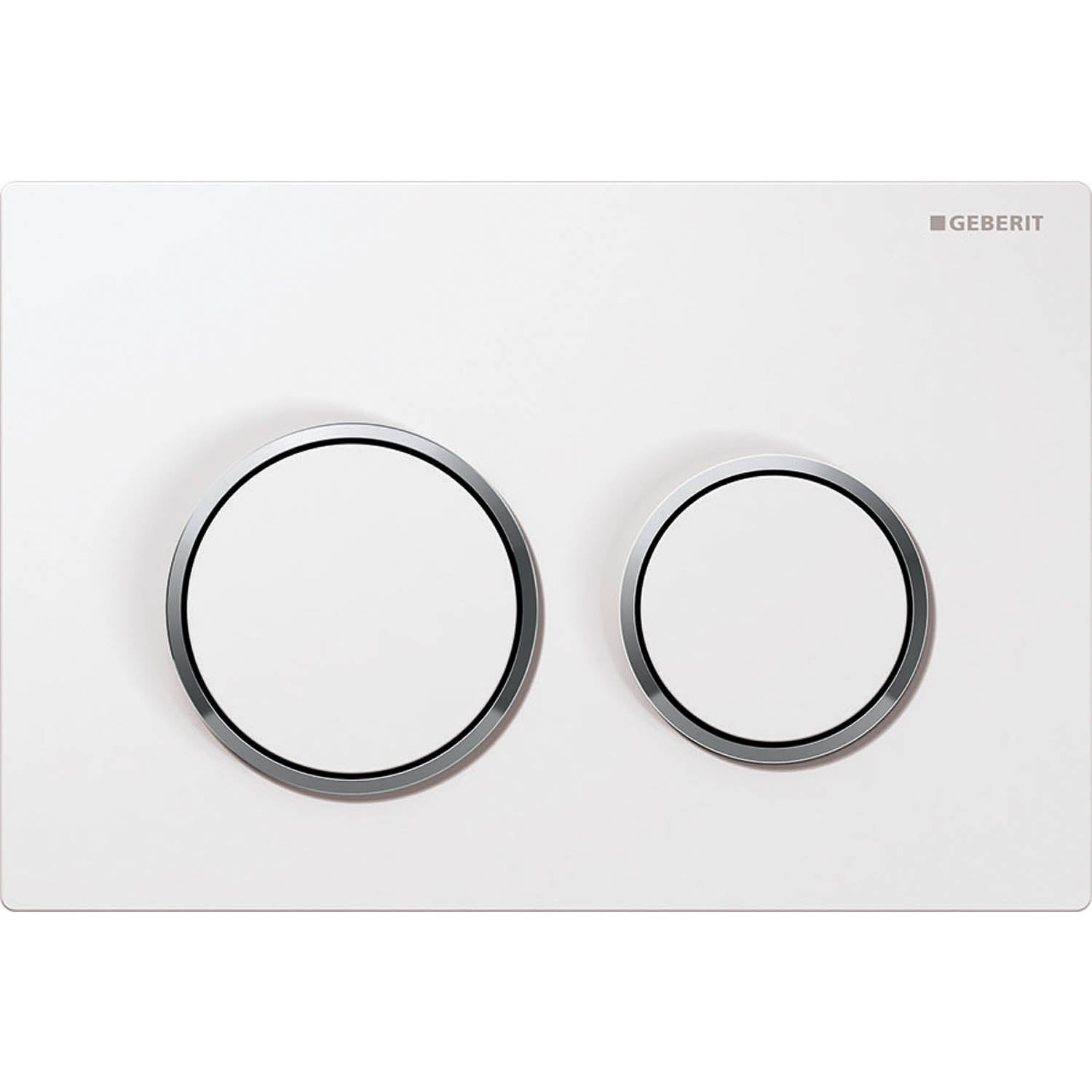 Omega Round Dual Action Flush Plate with a white and gloss chrome finish on a white background