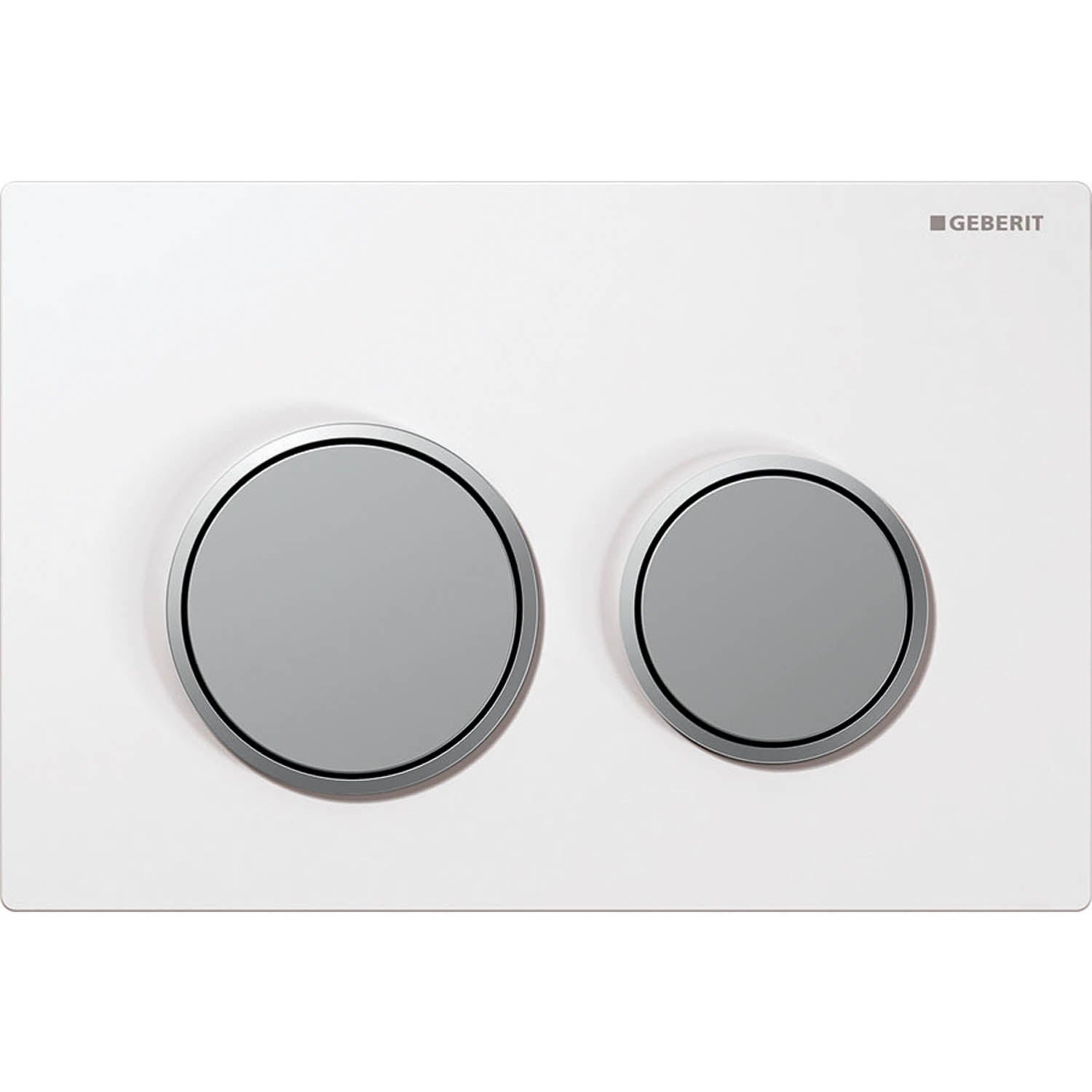 Omega Round Dual Action Flush Plate with a white and matt chrome finish on a white background