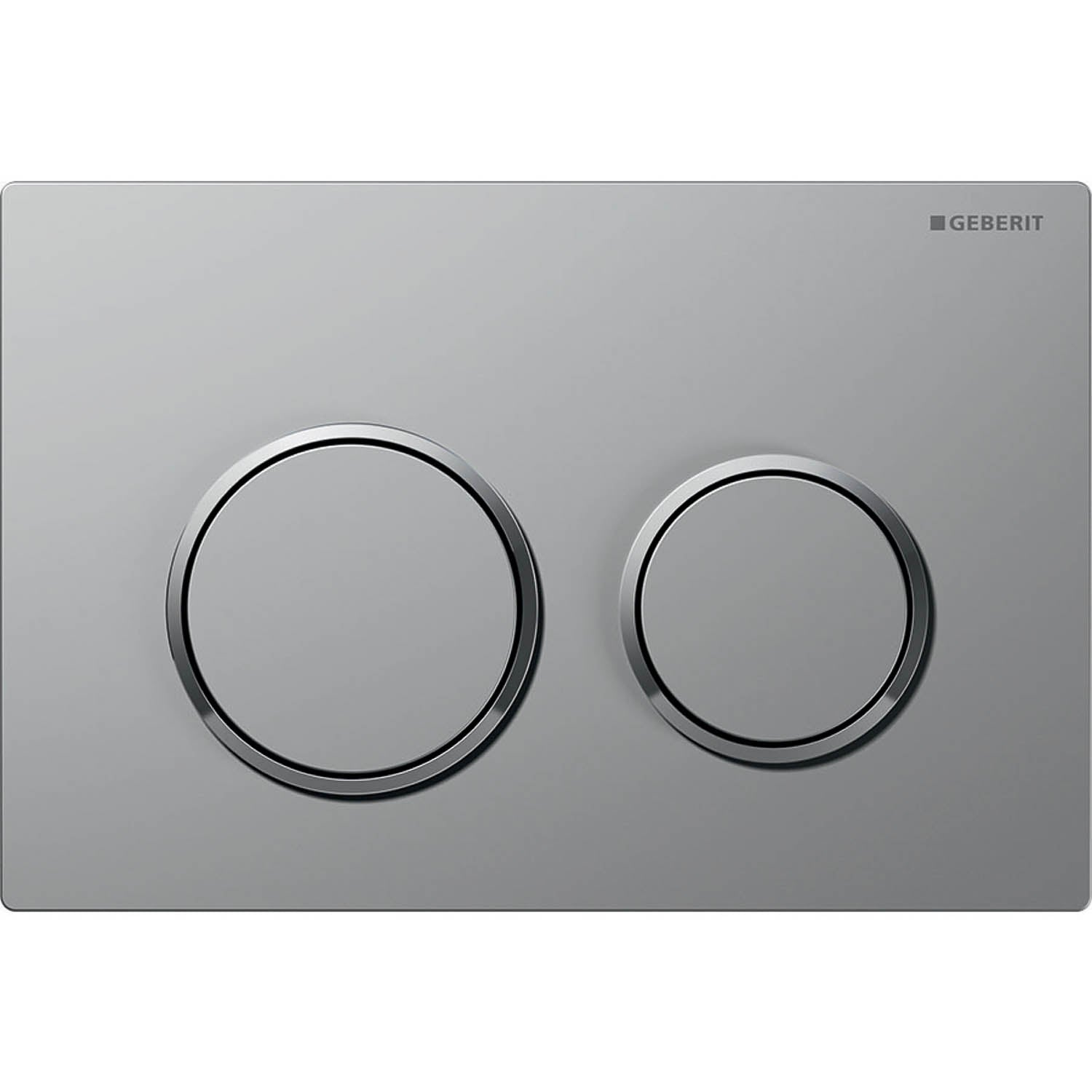 Omega Round Dual Action Flush Plate with a matt chrome finish on a white background