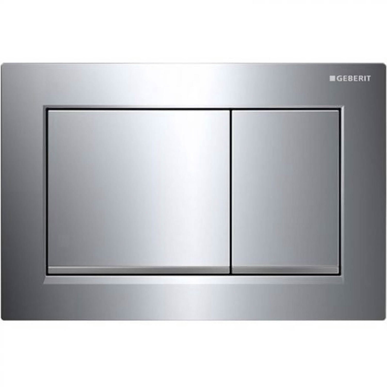 Omega Rectangular Dual Action Flush Plate with a gloss chrome finish on a white background