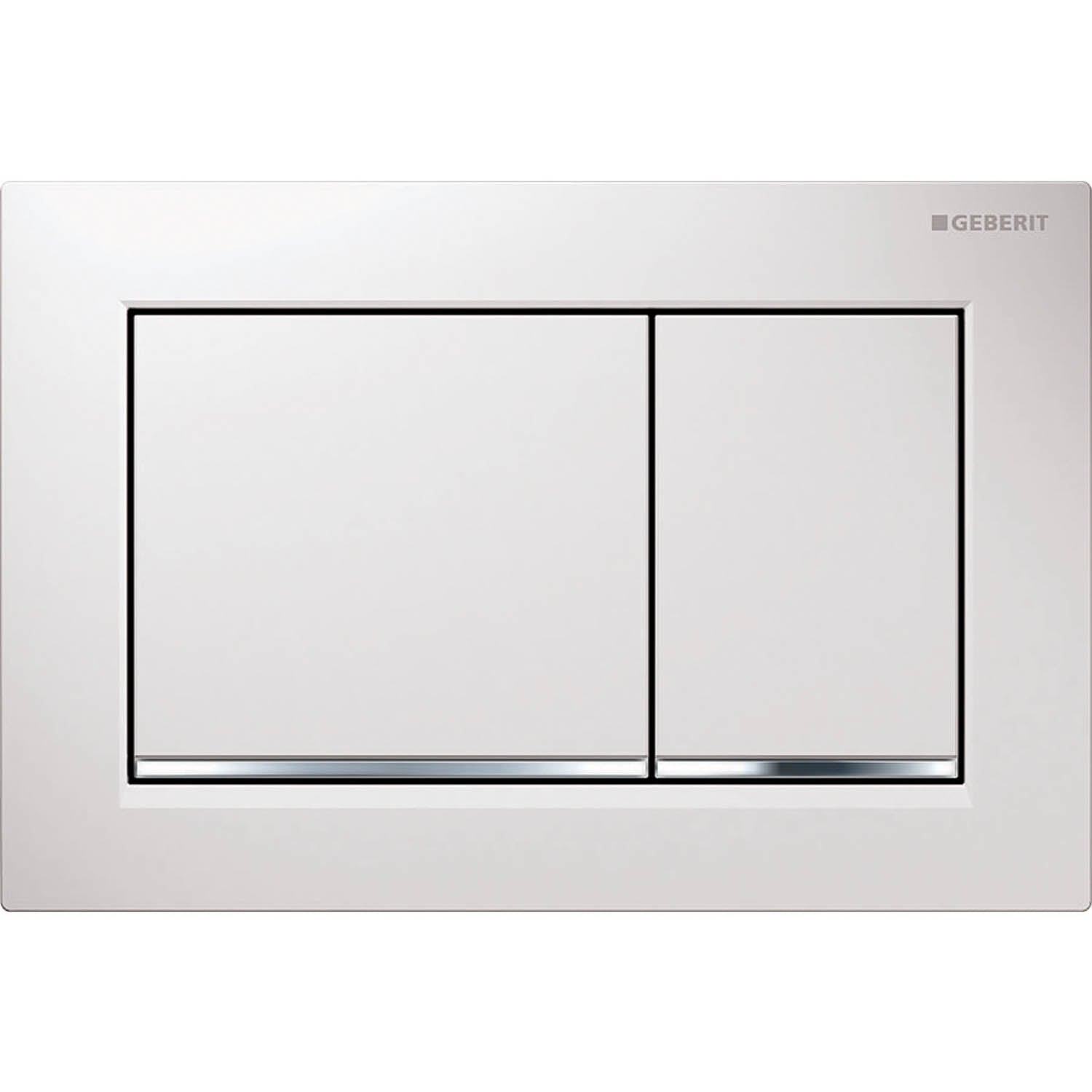 Omega Rectangular Dual Action Flush Plate with a white and gloss chrome finish on a white background