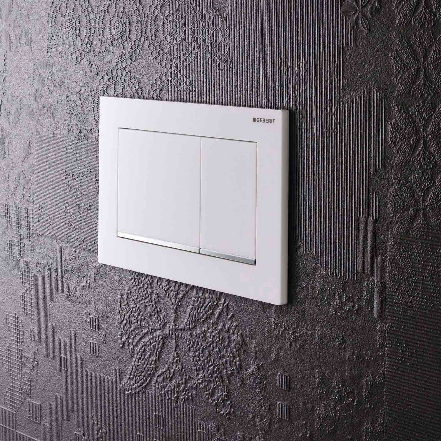 Omega Rectangular Dual Action Flush Plate with a white and gloss chrome finish lifestyle image