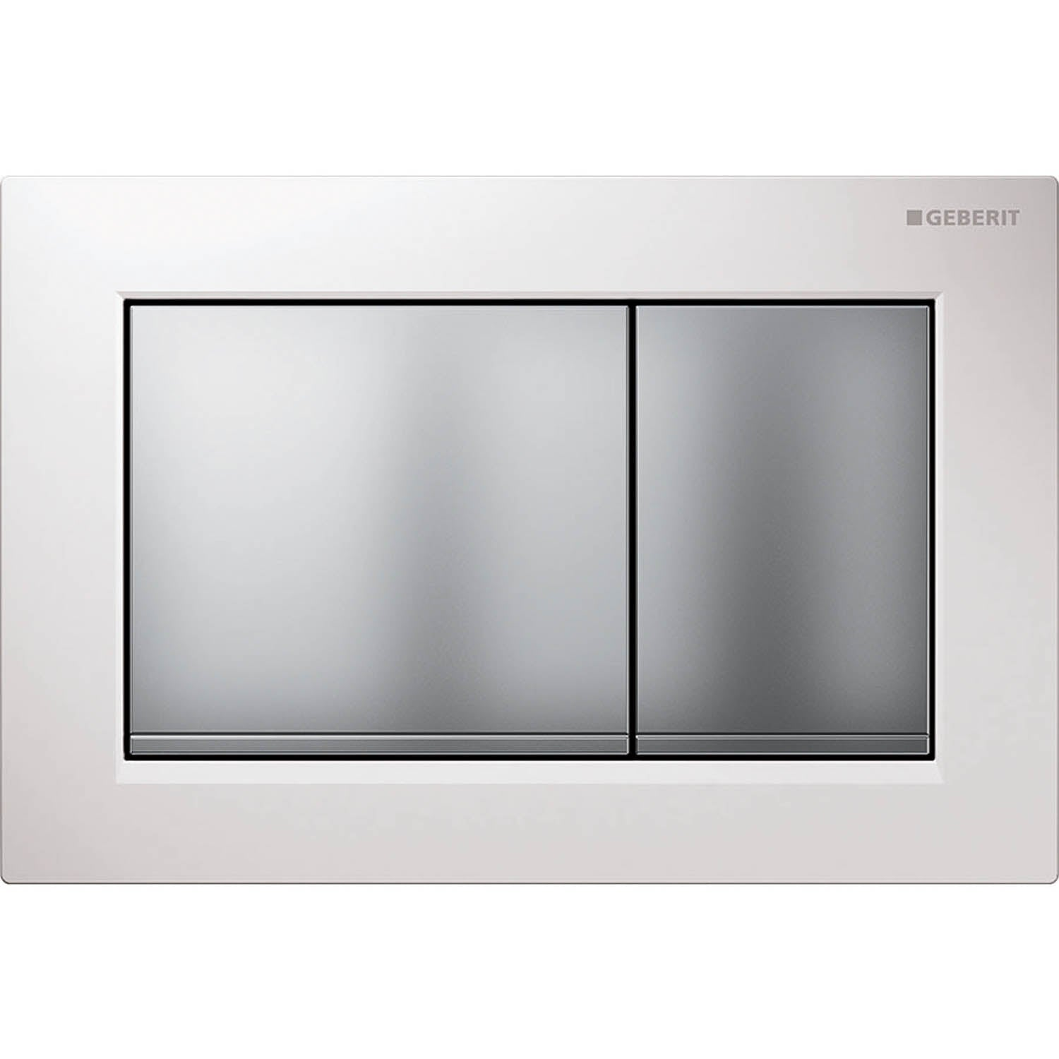 Omega Rectangular Dual Action Flush Plate with a white and matt chrome finish on a white background