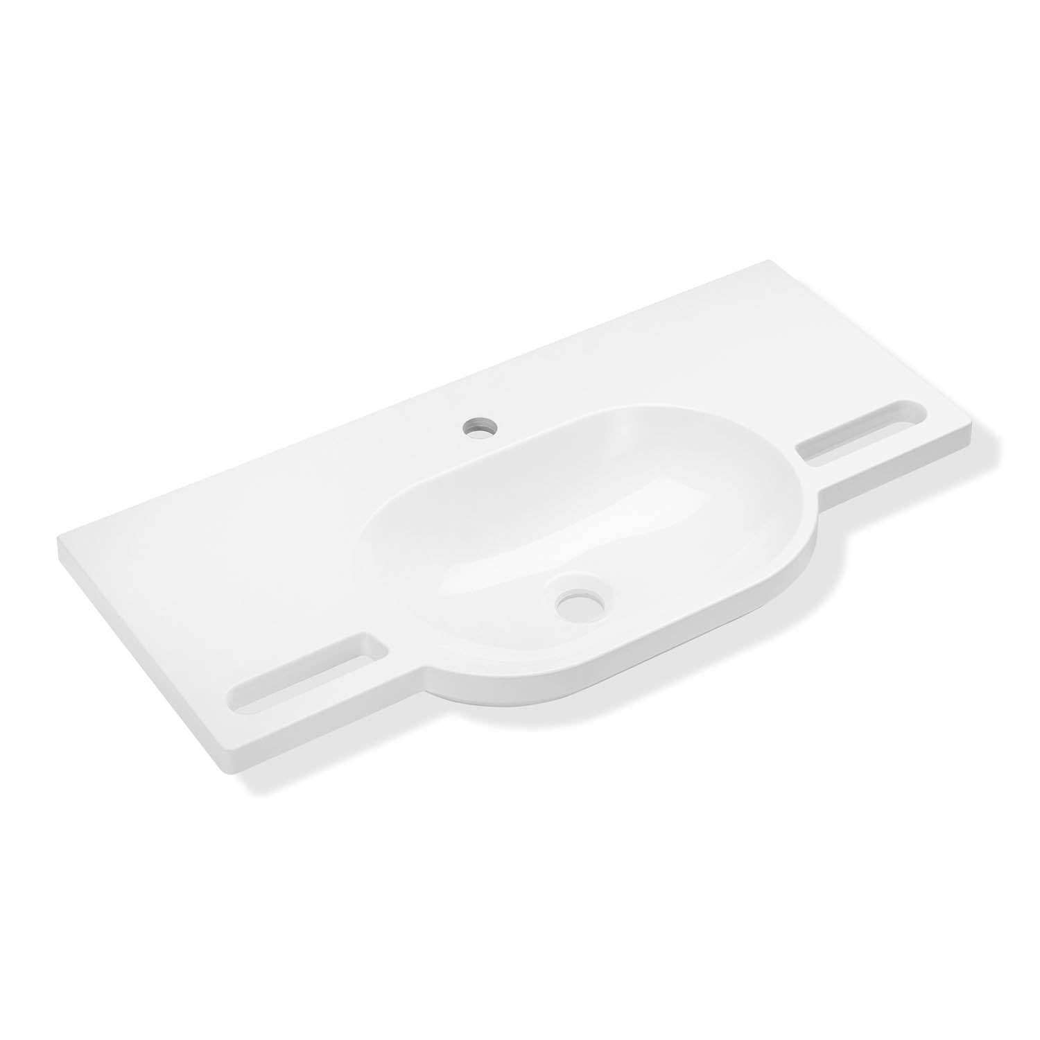 850mm SurfaceHold Wall Hung Long Oval Basin with one tap hole on a white background