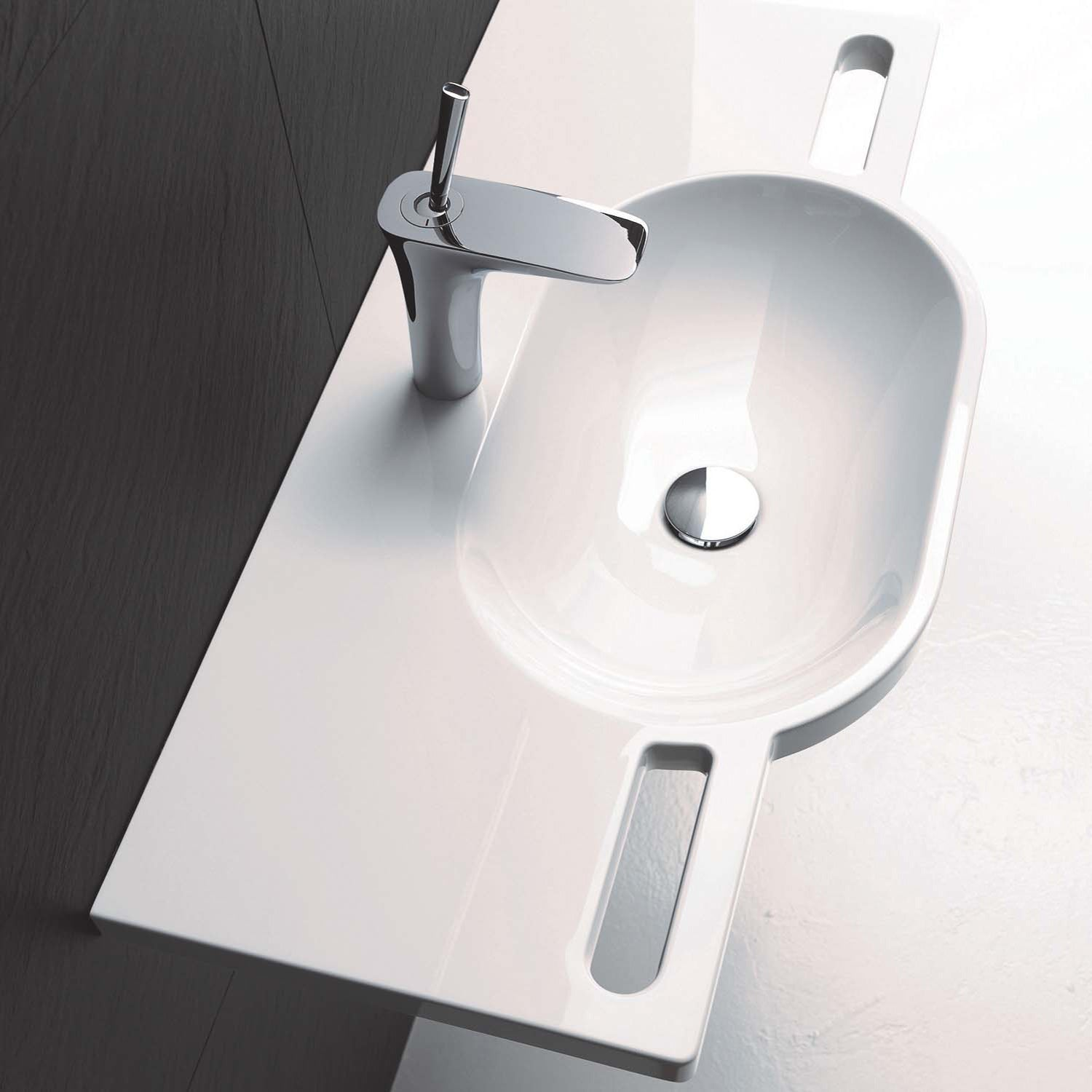 850mm SurfaceHold Wall Hung Long Oval Basin with no tap hole lifestyle image