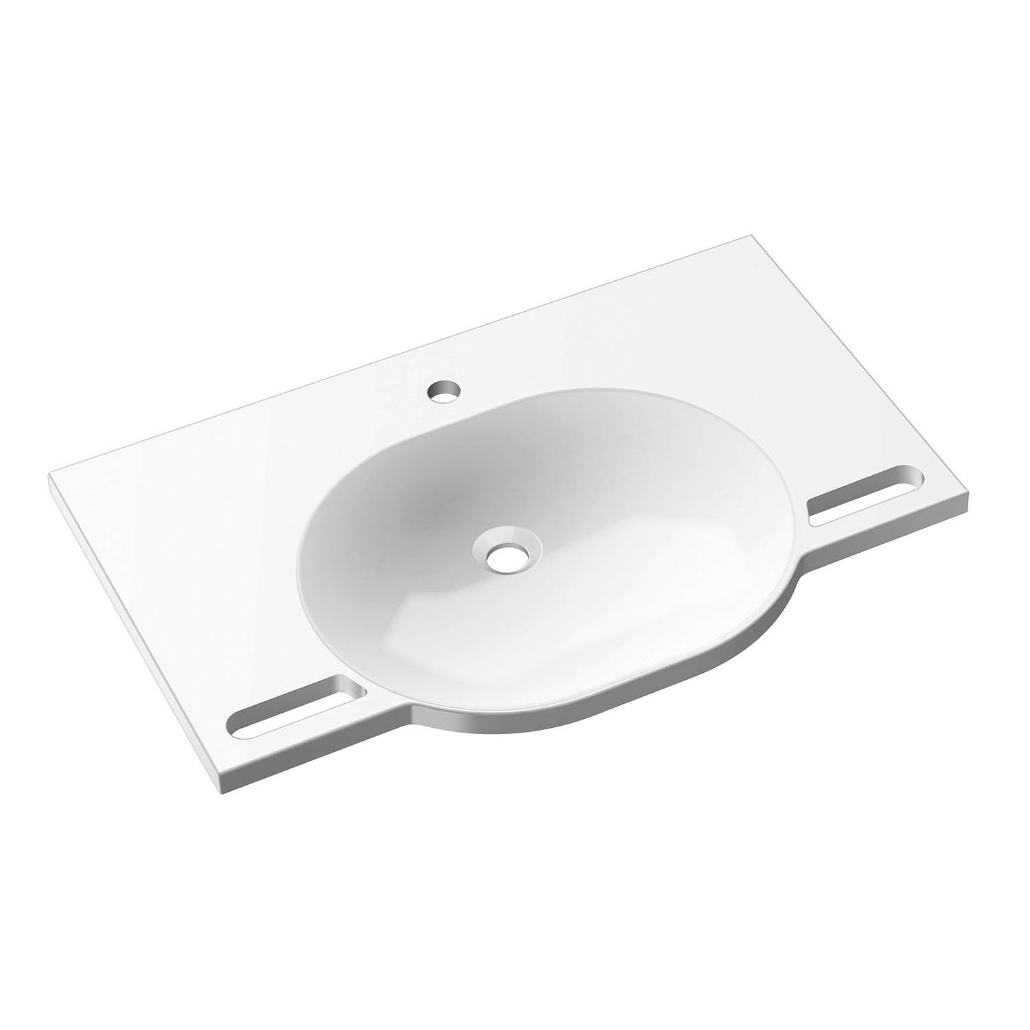 850mm SurfaceHold Wall Hung Large Oval Basin with one tap hole on a white background