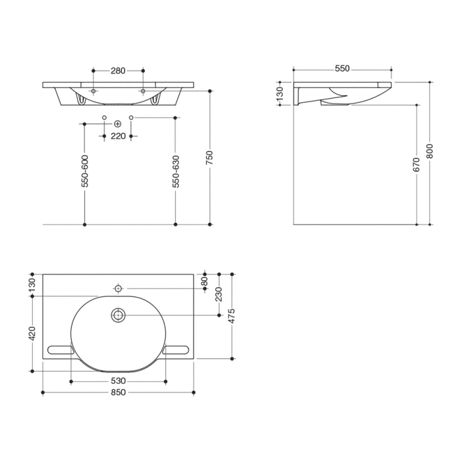 850mm SurfaceHold Wall Hung Large Oval Basin with one tap hole dimensional drawing