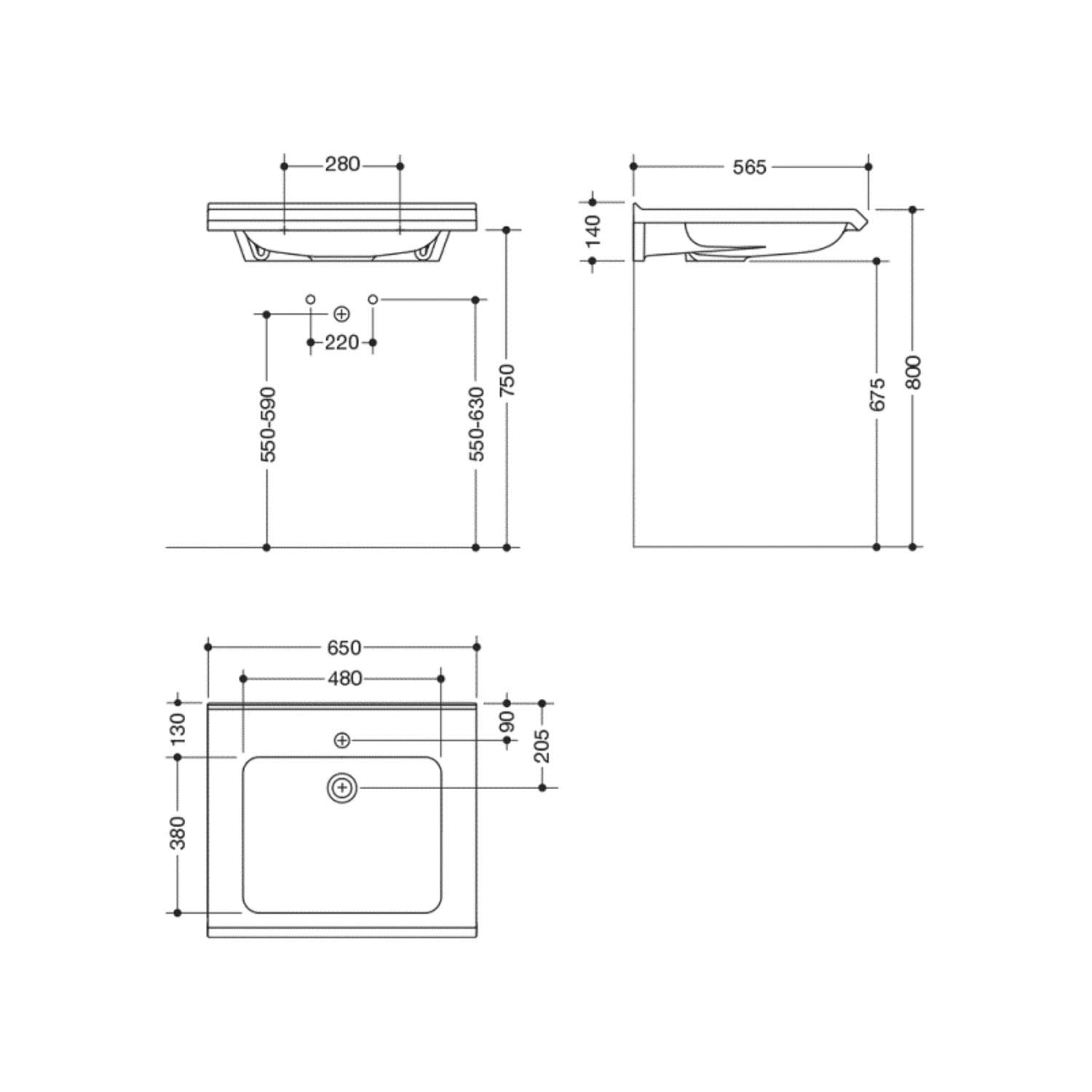 650mm SurfaceHold Wall Hung Basin with one tap hole dimensional drawing