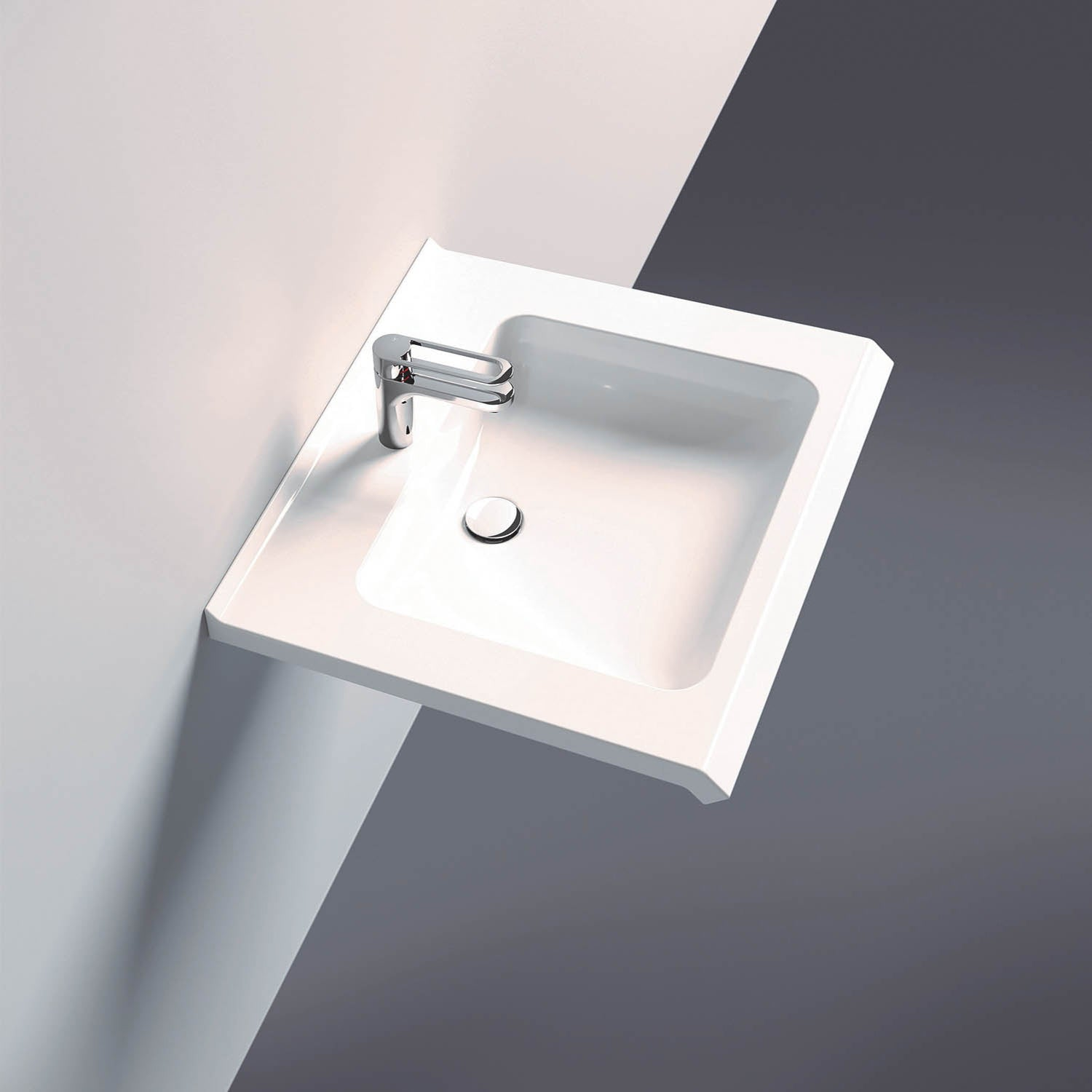 650mm SurfaceHold Wall Hung Basin with one tap hole lifestyle image