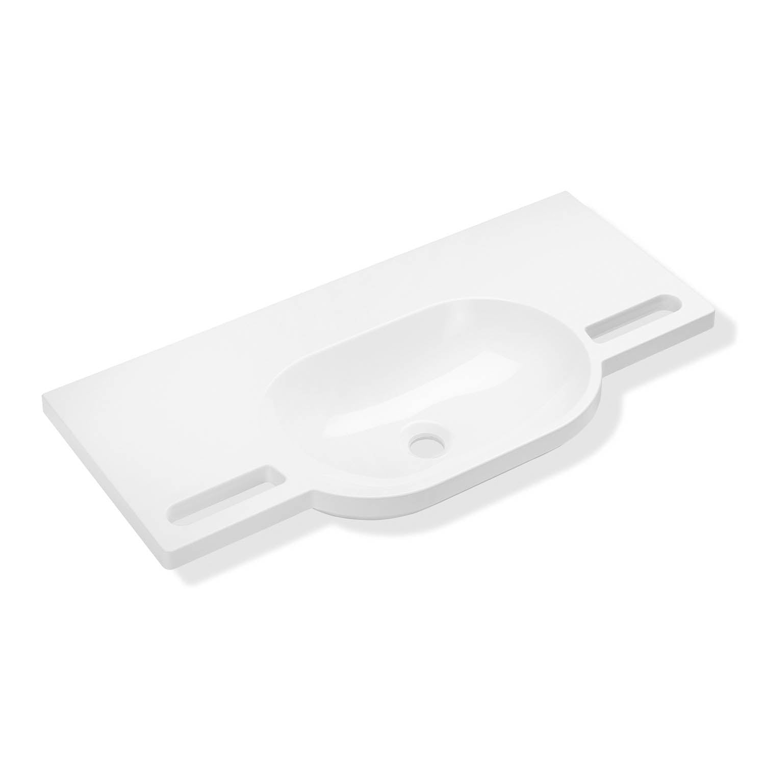850mm SurfaceHold Wall Hung Long Oval Basin with no tap hole on a white background