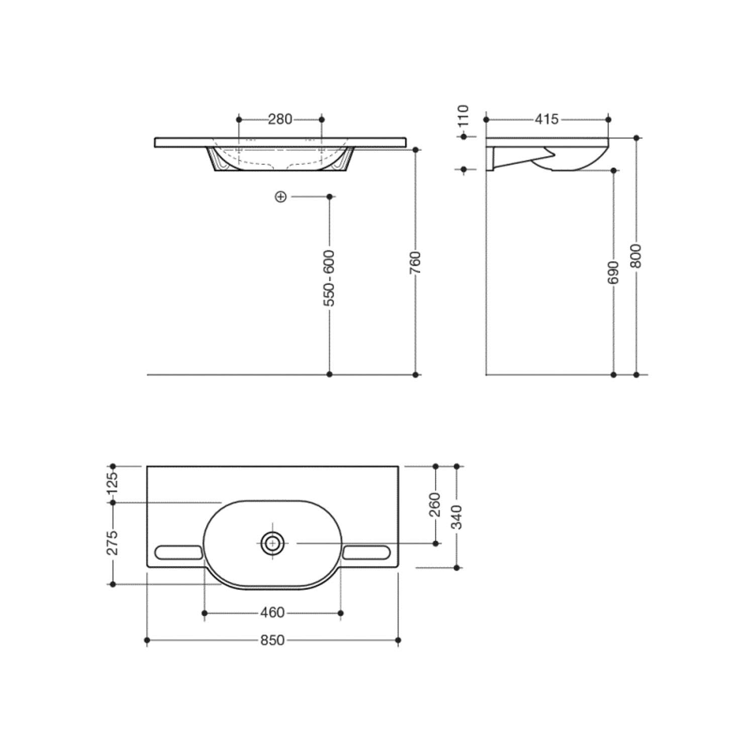 850mm SurfaceHold Wall Hung Long Oval Basin with one tap hole dimensional drawing