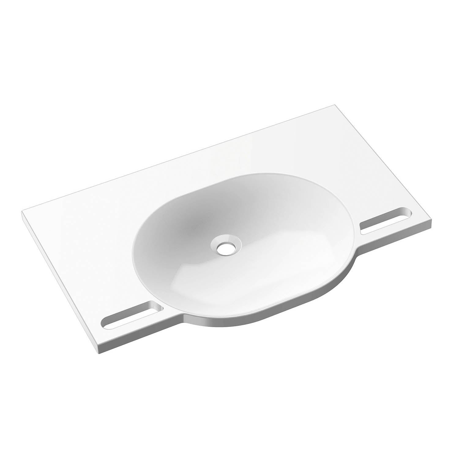 850mm SurfaceHold Wall Hung Large Oval Basin with no tap hole on a white background