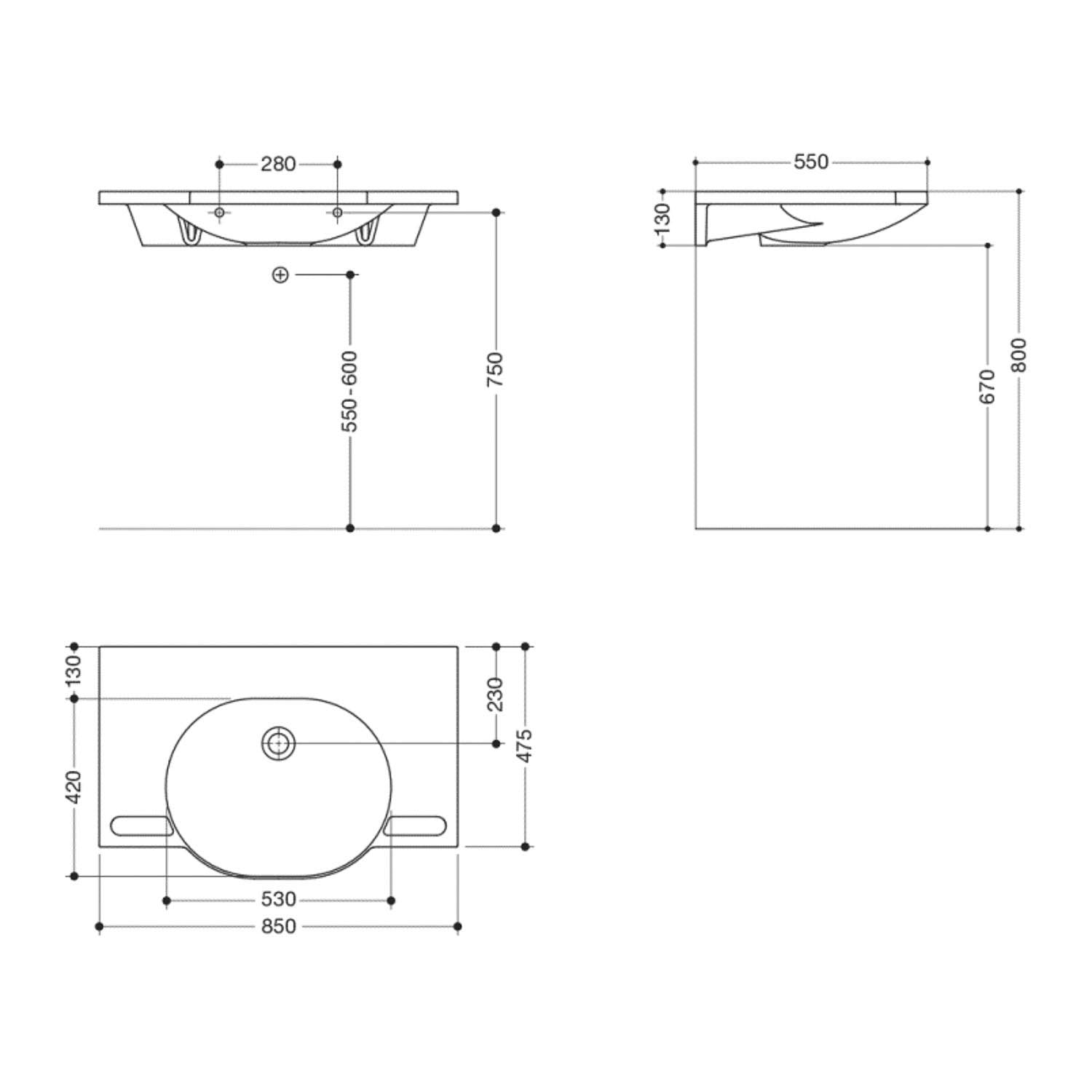 850mm SurfaceHold Wall Hung Large Oval Basin with no tap hole dimensional drawing