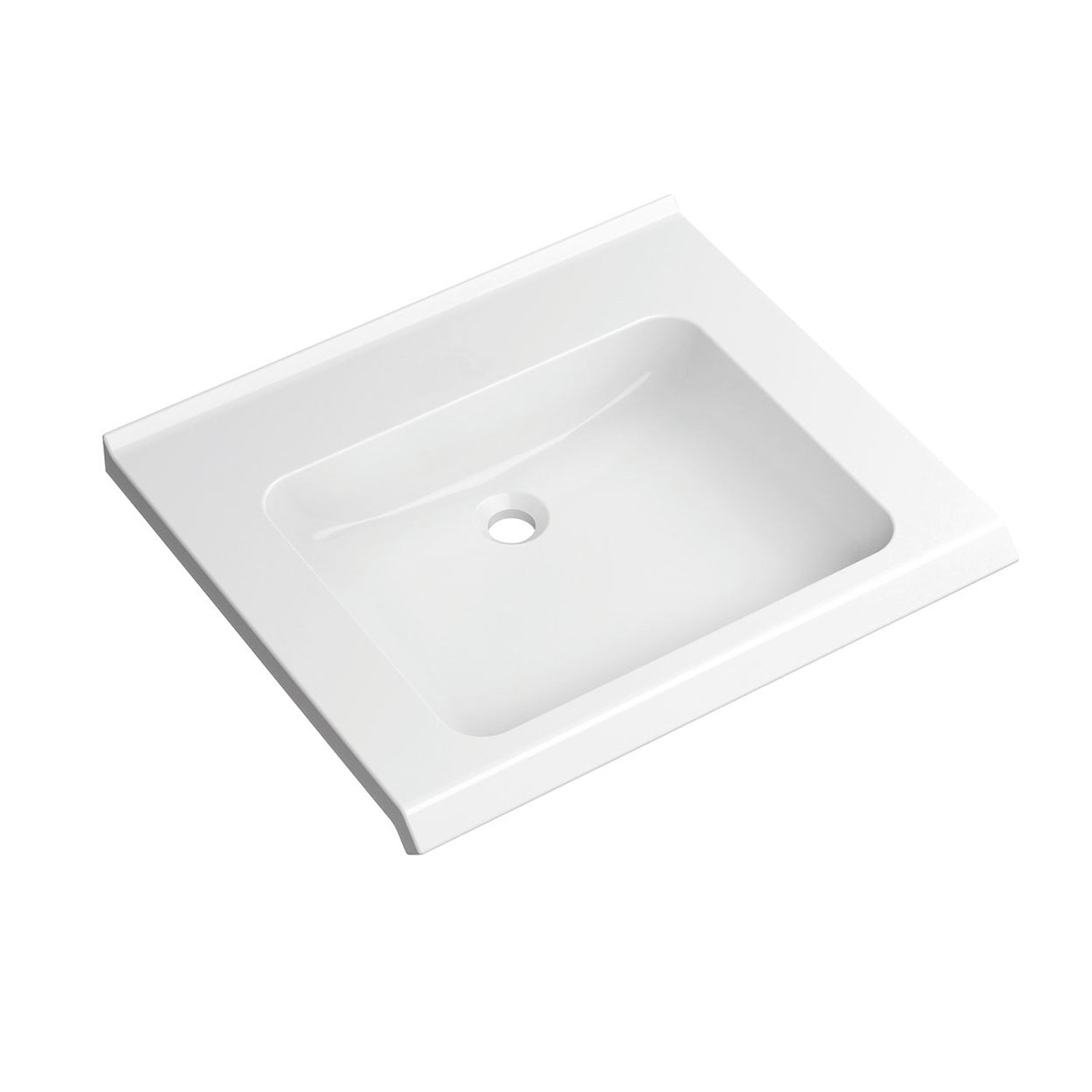 650mm SurfaceHold Wall Hung Basin with no tap hole on a white background