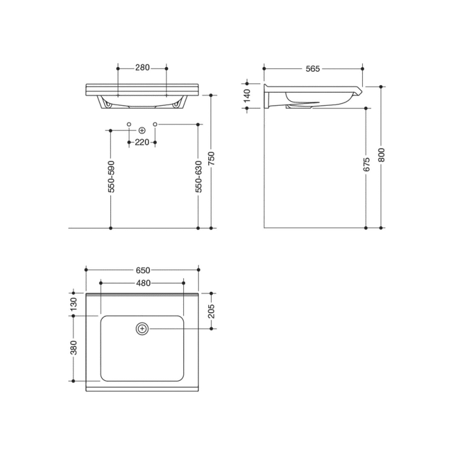 650mm SurfaceHold Wall Hung Basin with no tap hole dimensional drawing