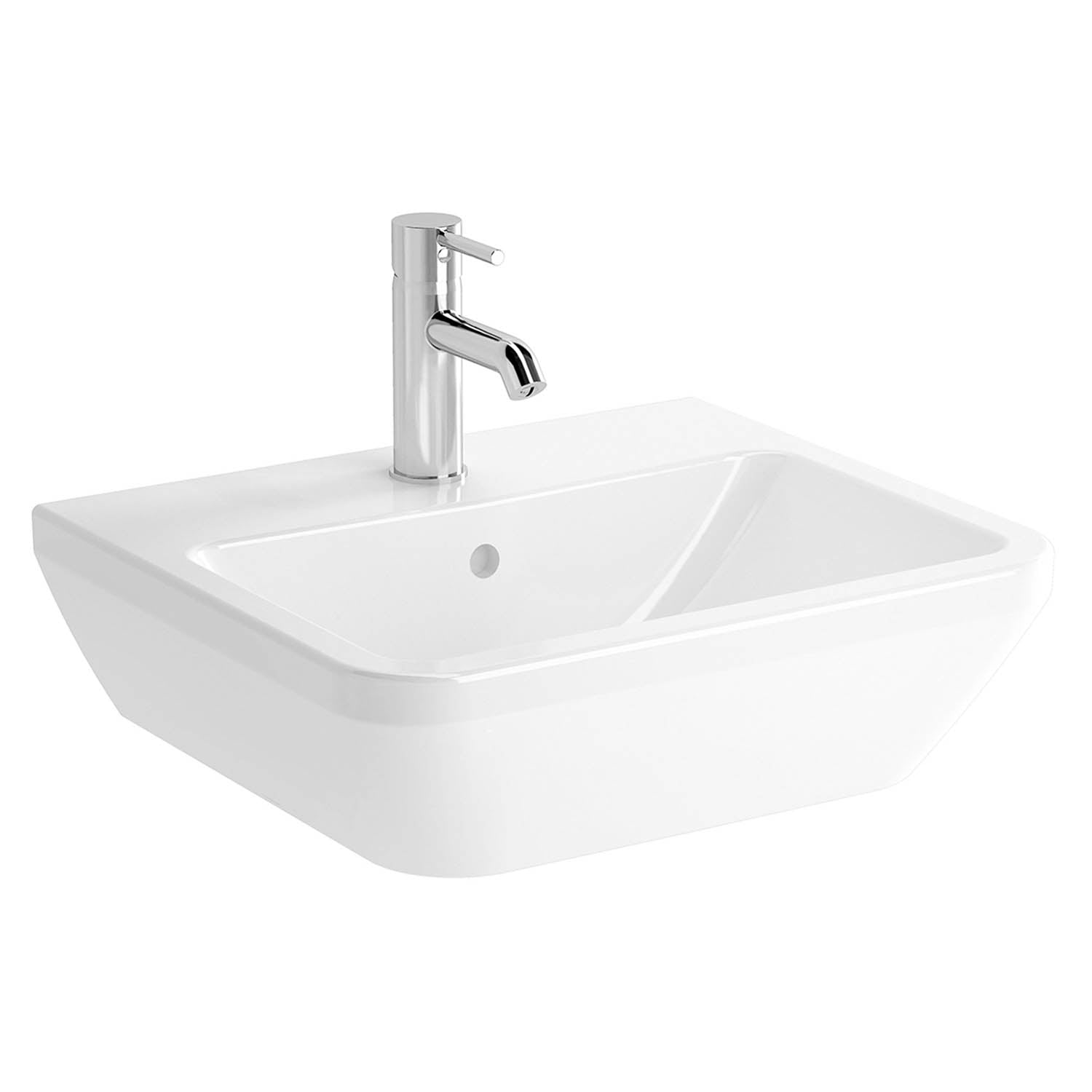 500mm Consilio Wall Hung Basin with one tap hole and an overflow on a white background