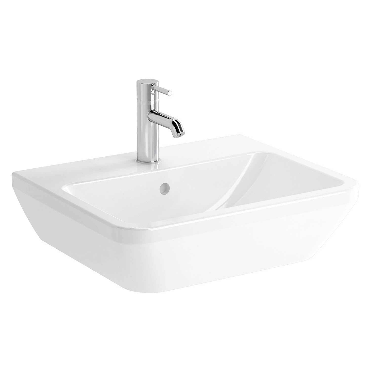 550mm Consilio Wall Hung Basin with one tap hole and an overflow on a white background