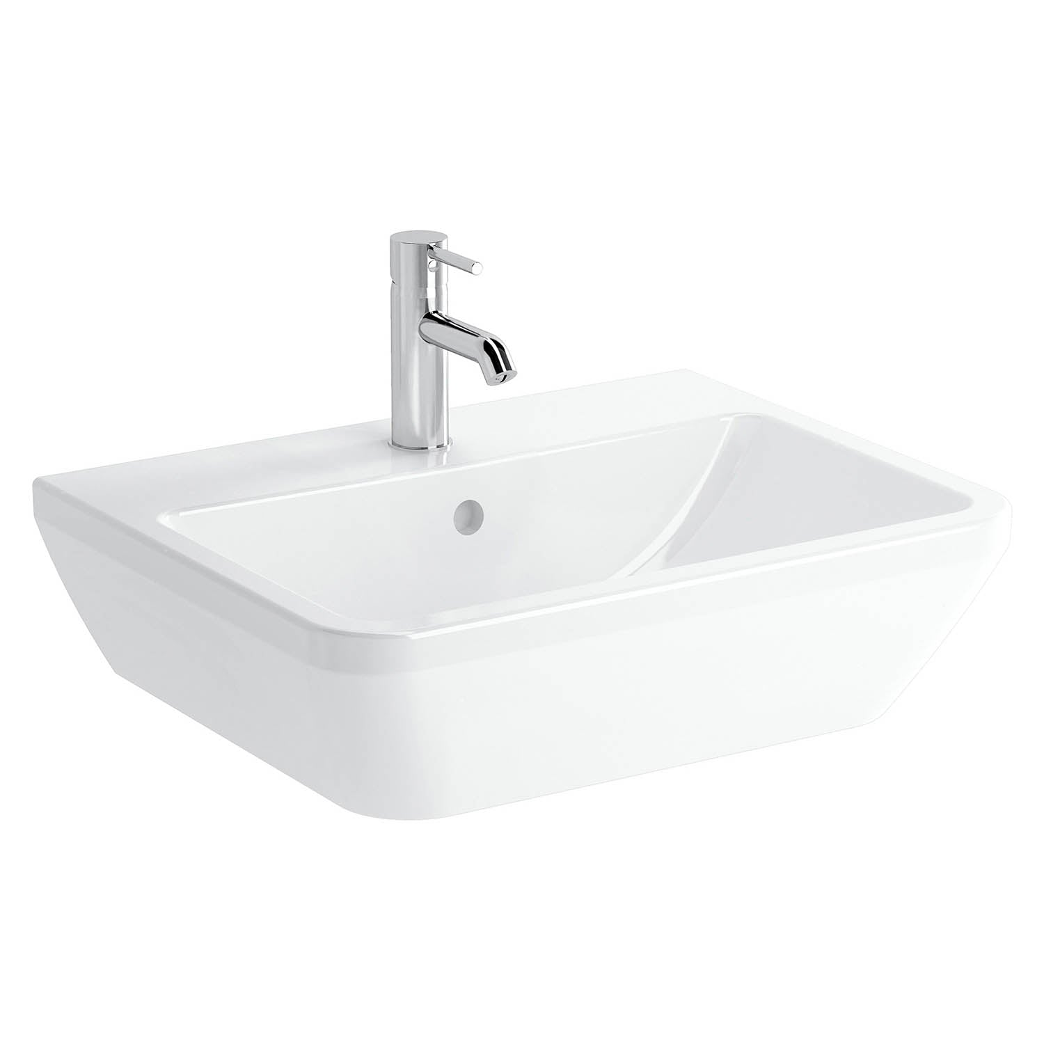 600mm Consilio Wall Hung Basin with one tap hole and an overflow on a white background