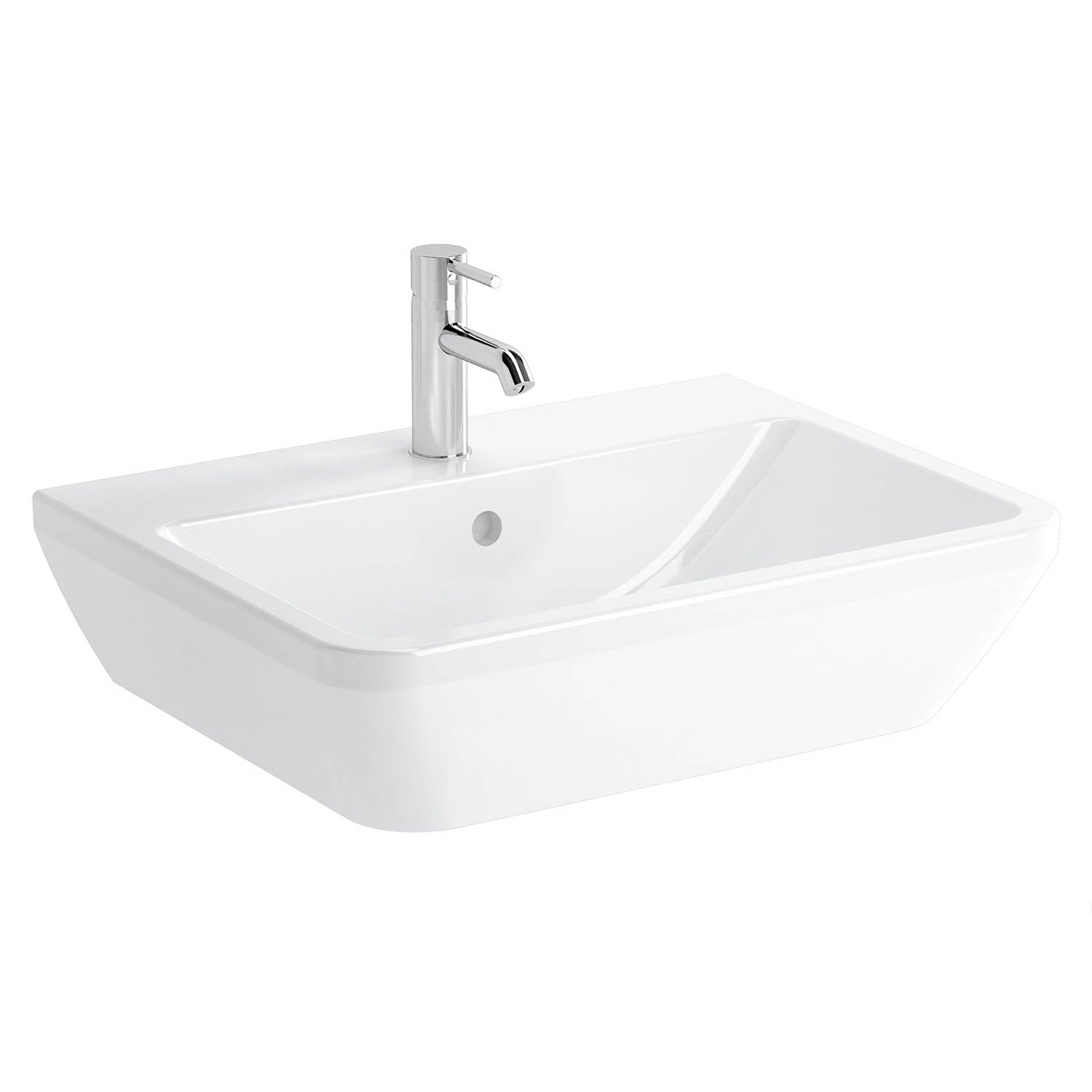 650mm Consilio Wall Hung Basin with one tap hole and an overflow on a white background