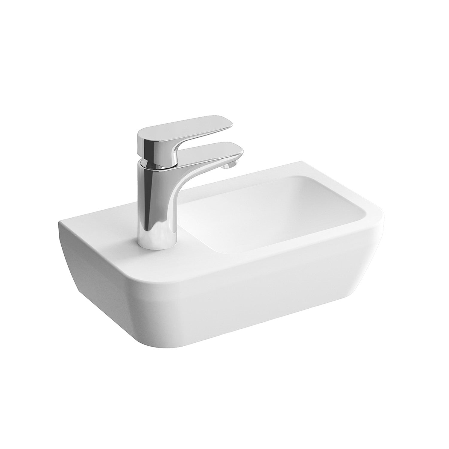 Left handed Consilio Handrinse Cloakroom Basin with one tap hole and an overflow on a white background
