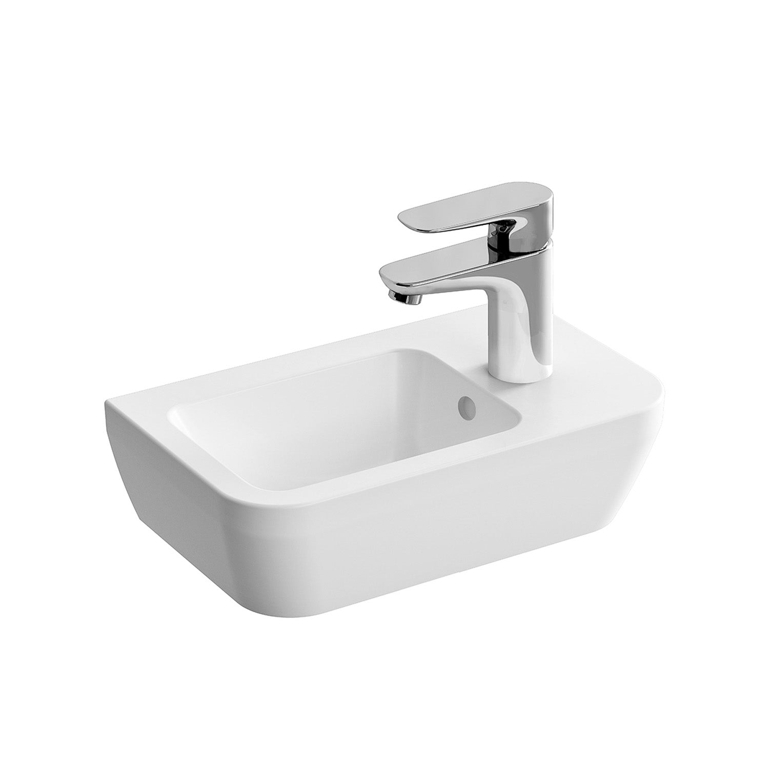 Right handed Consilio Handrinse Cloakroom Basin with one tap hole and an overflow on a white background