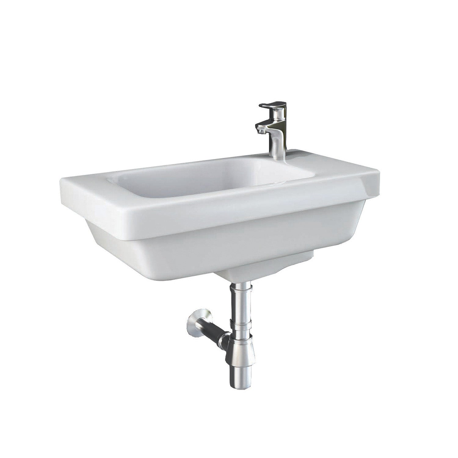 Vesta Cloakroom Handrinse Basin with one tap hole and an overflow on a white background