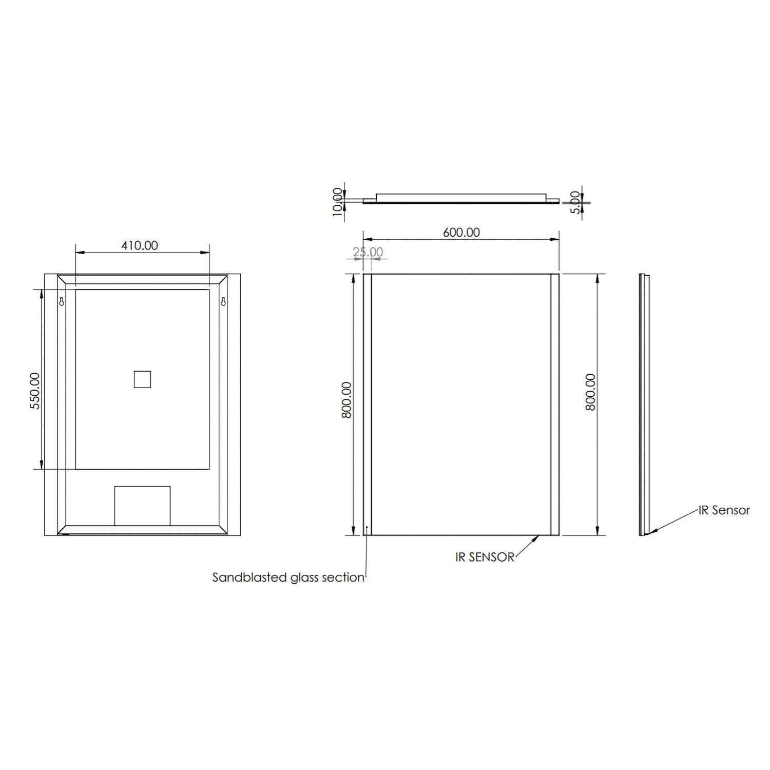800x600mm Side Lit LED Light Mirror dimensional drawing