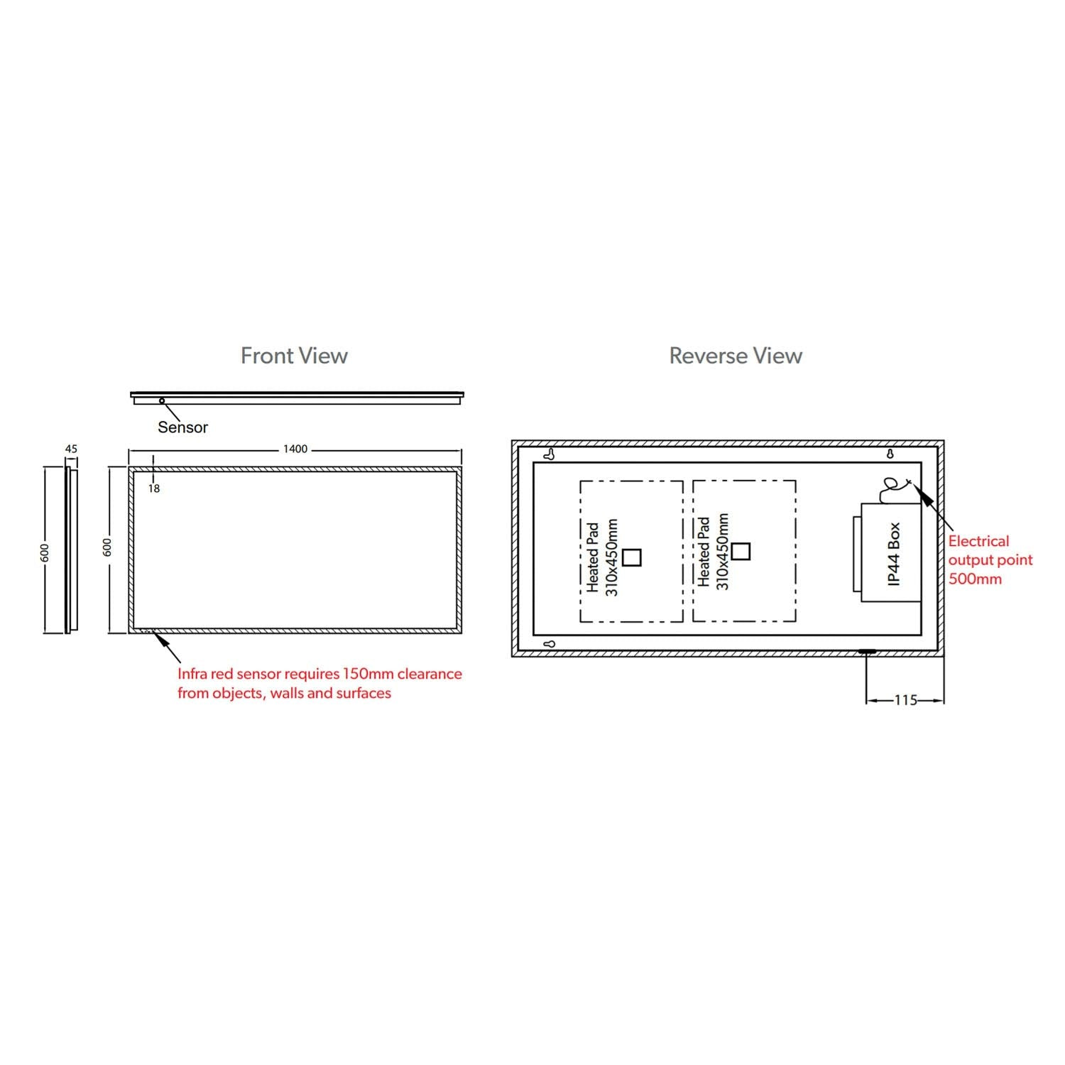 1400x600mm Front Lit LED Light Mirror dimensional drawing