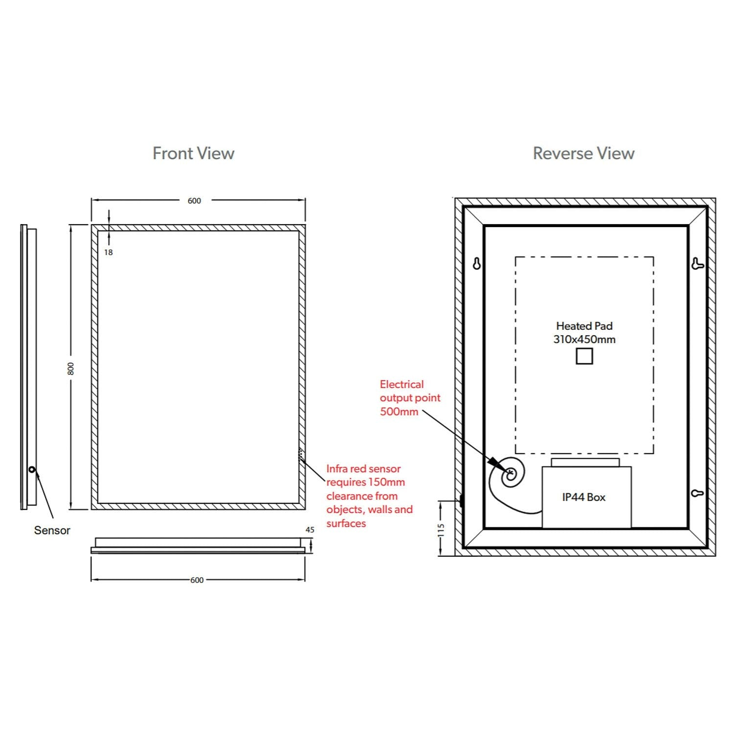 800x600mm Front Lit LED Light Mirror dimensional drawing