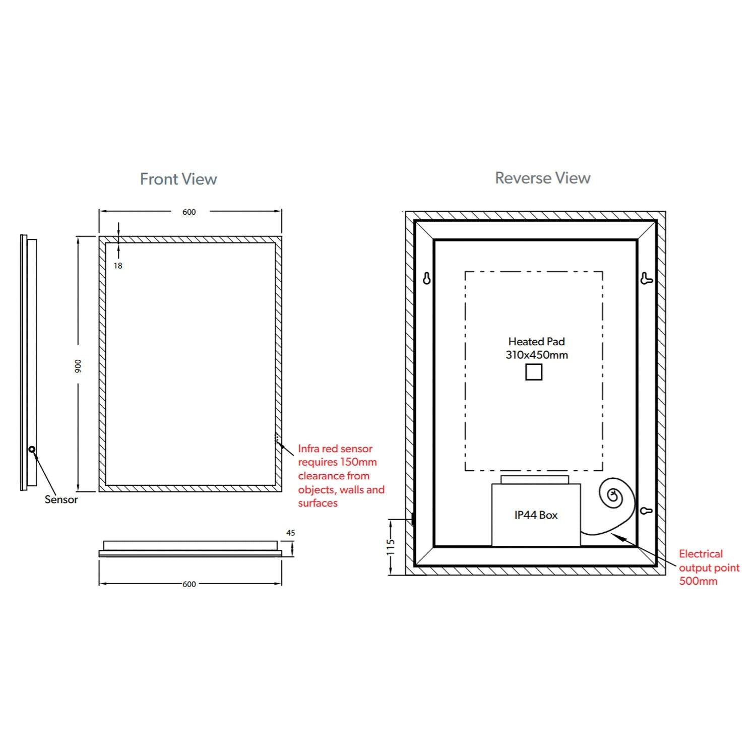 900x600mm Front Lit LED Light Mirror dimensional drawing