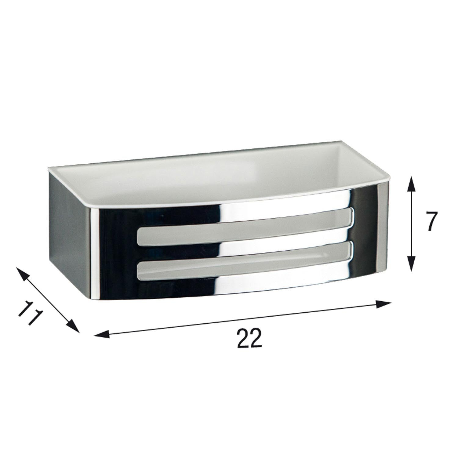 Easyclean Shower Basket with a chrome finish and white removable insert dimensional drawing