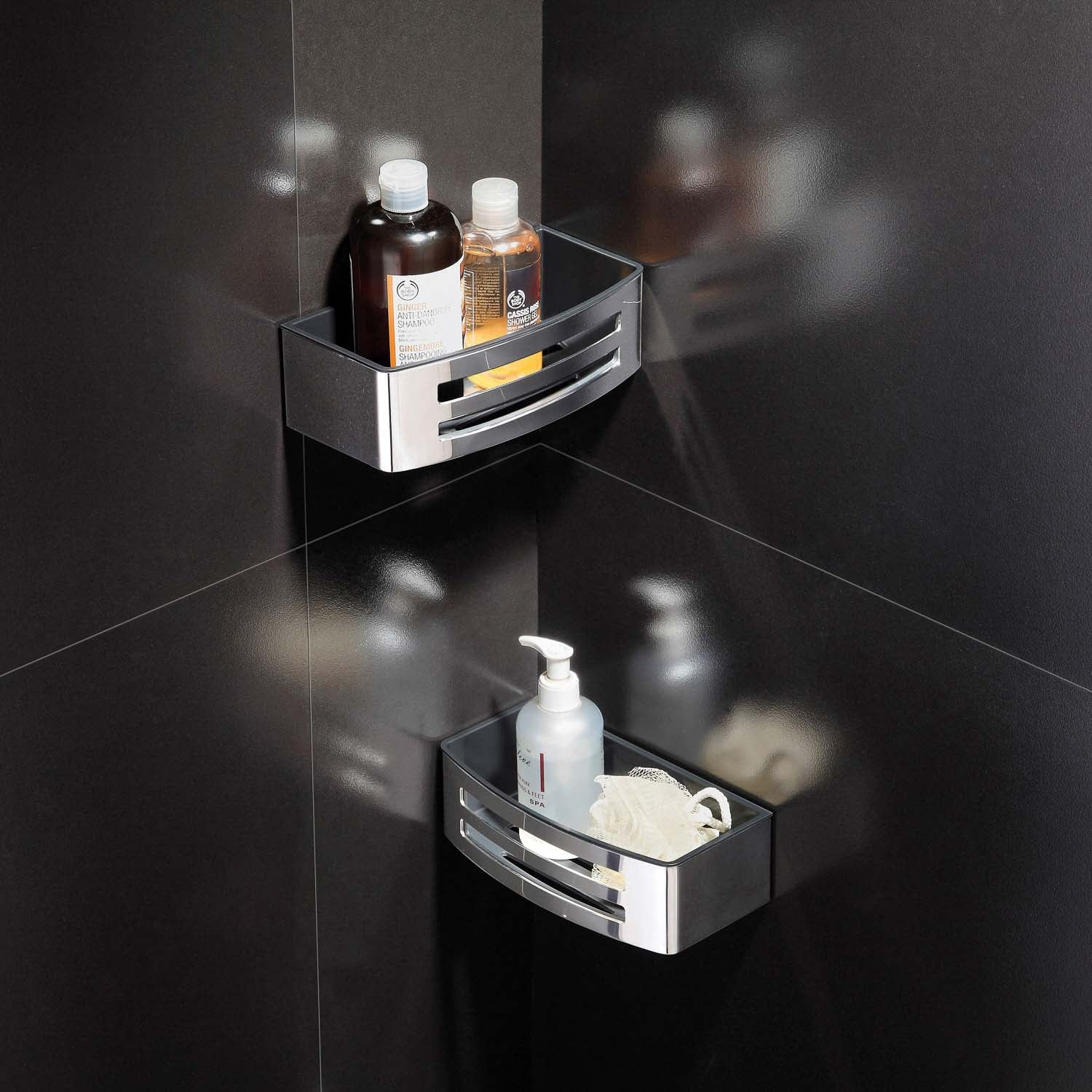 Easyclean Shower Basket with a chrome finish and black removable insert lifestyle image