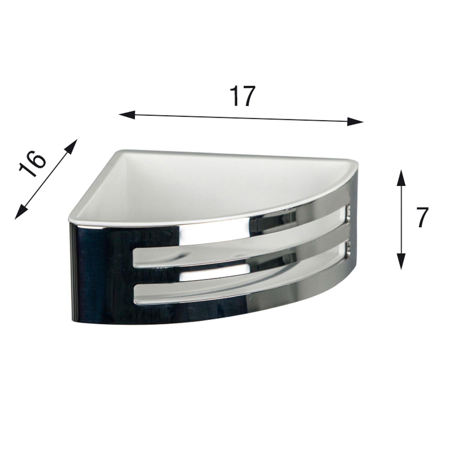 Easyclean Corner Shower Basket with a chrome finish and black removable insert dimensional drawing