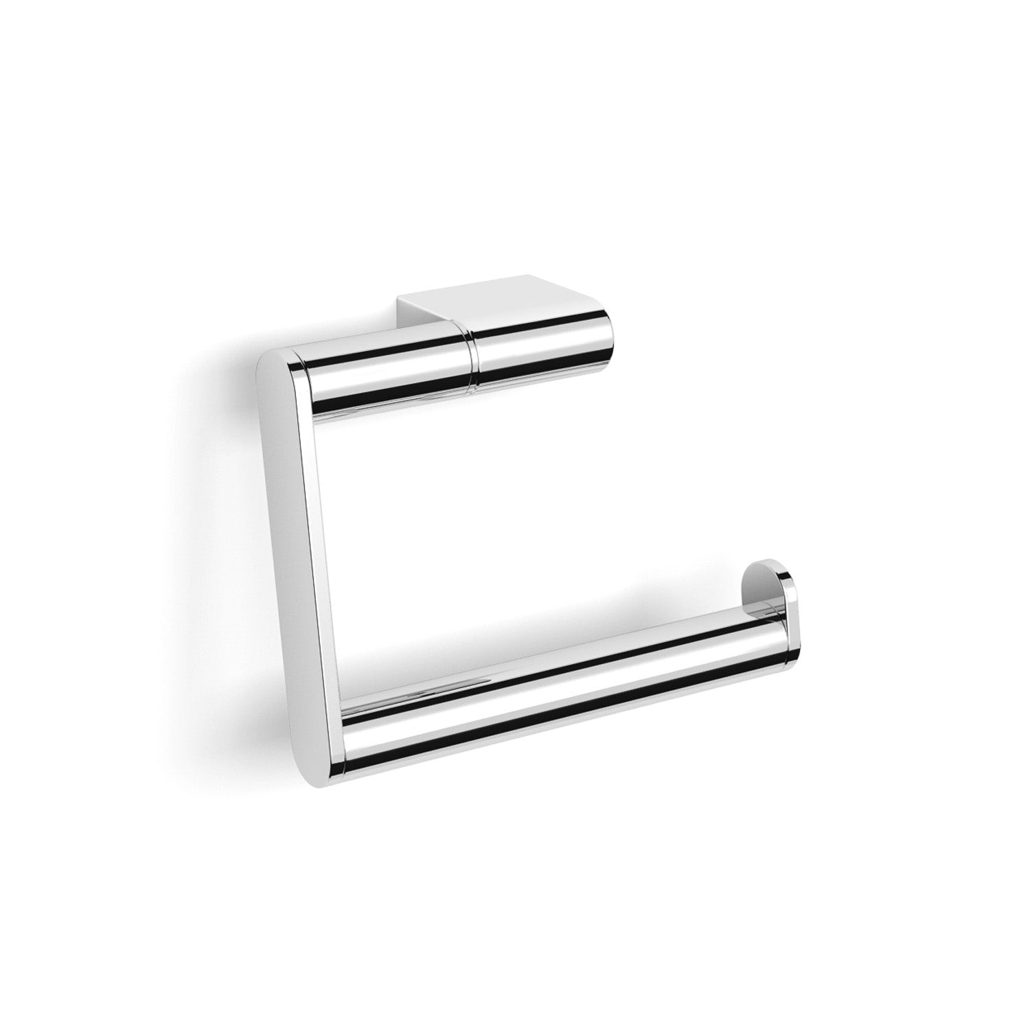 Hinged Modale Toilet Roll Holder with a chrome finish and no cover on a white background