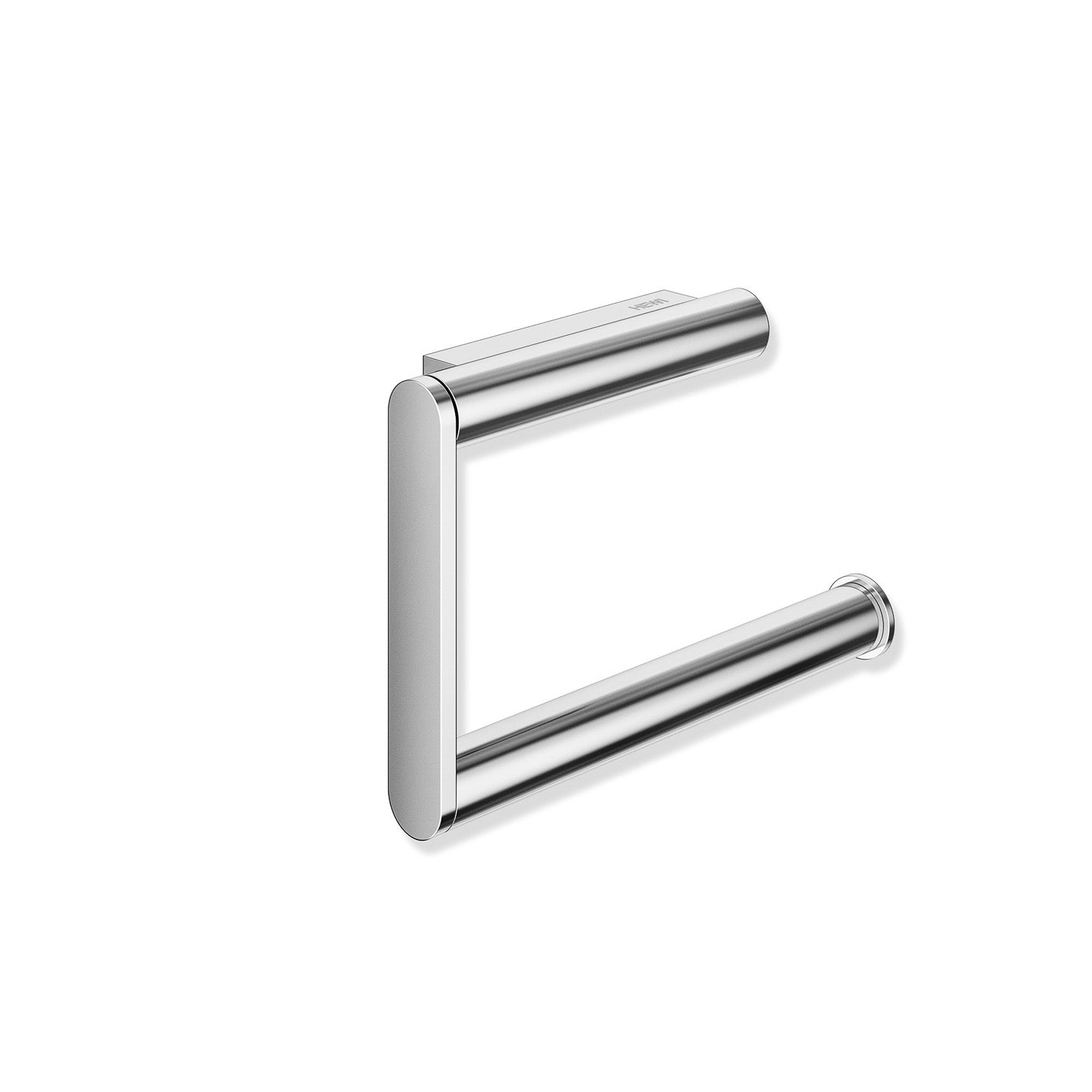 Freestyle Hinged Toilet Roll Holder with a chrome finish and no cover on a white background