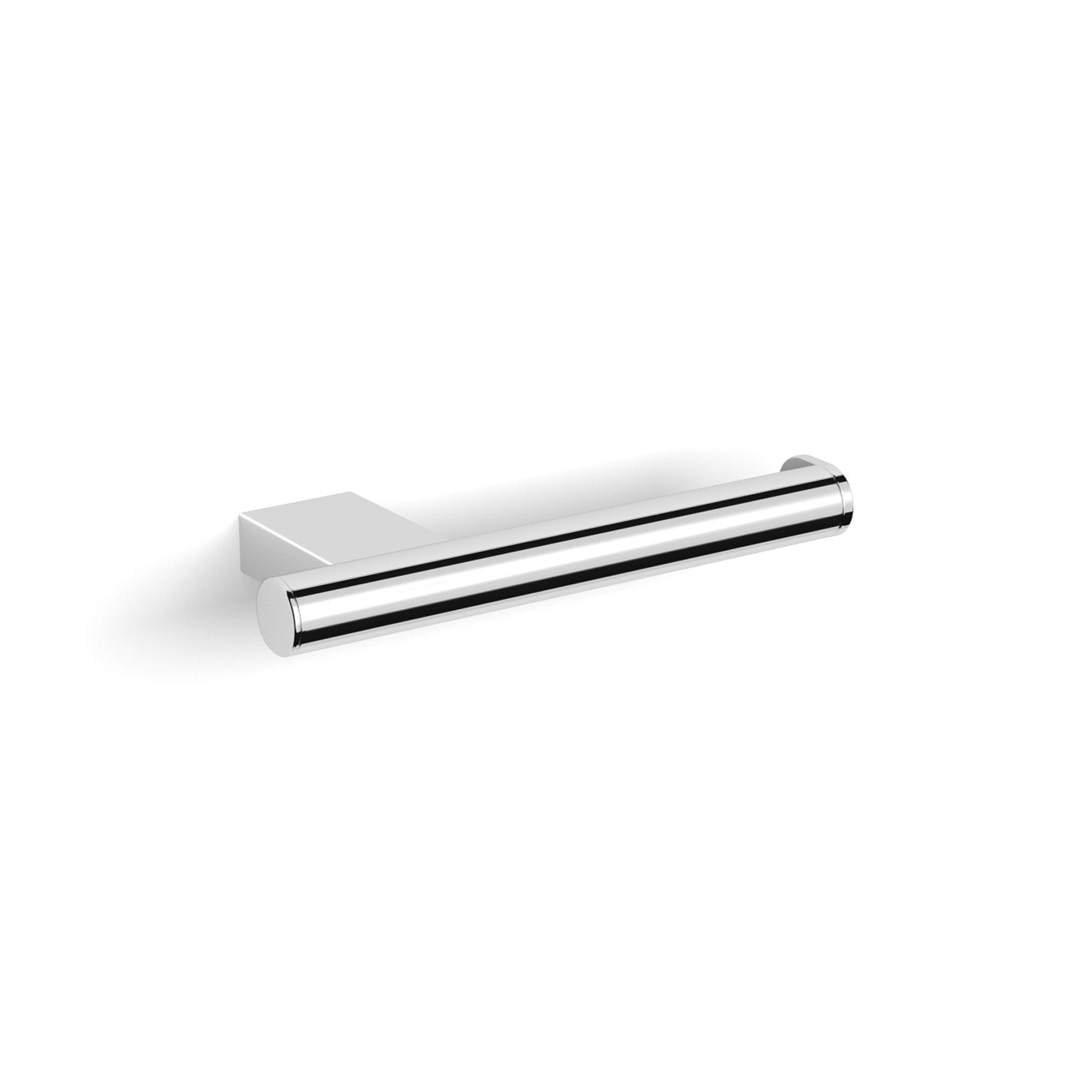 Fixed Modale Toilet Roll Holder with a chrome finish and no cover on a white background
